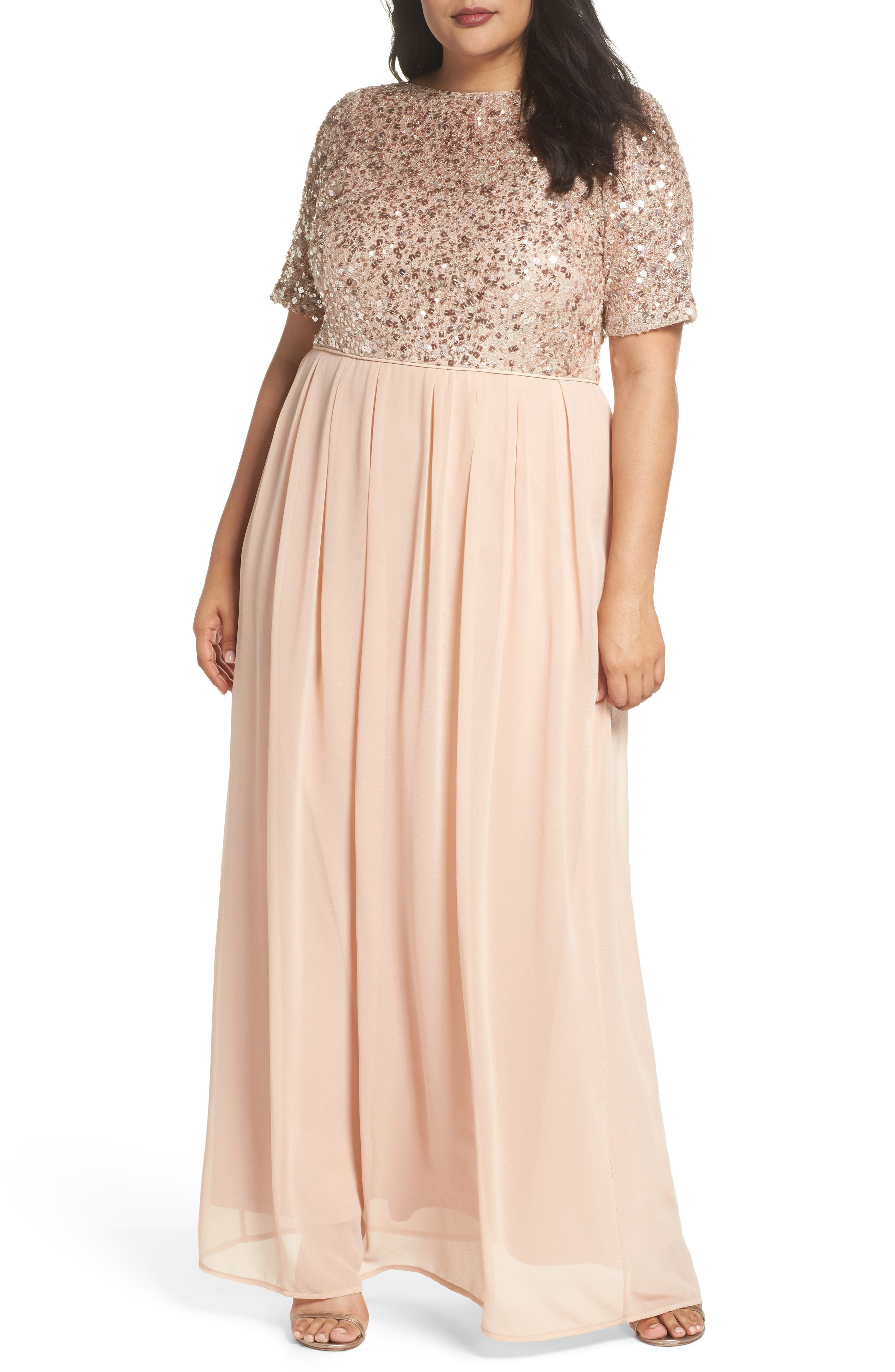 Beaded Metallic Lace Gown,                             Main thumbnail 1, color,                             English Rose