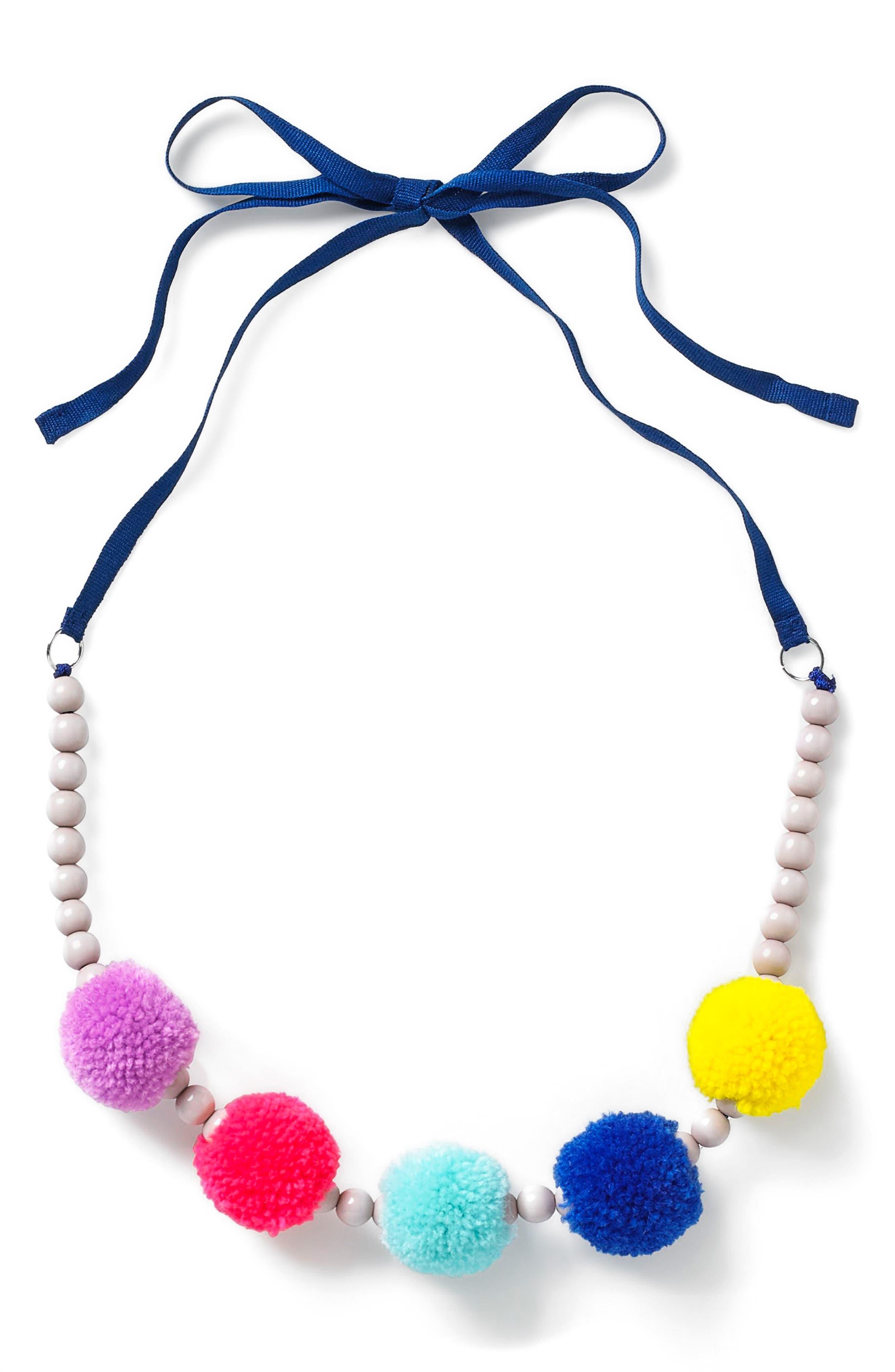 Tie Back Necklace,                         Main,                         color, Blue