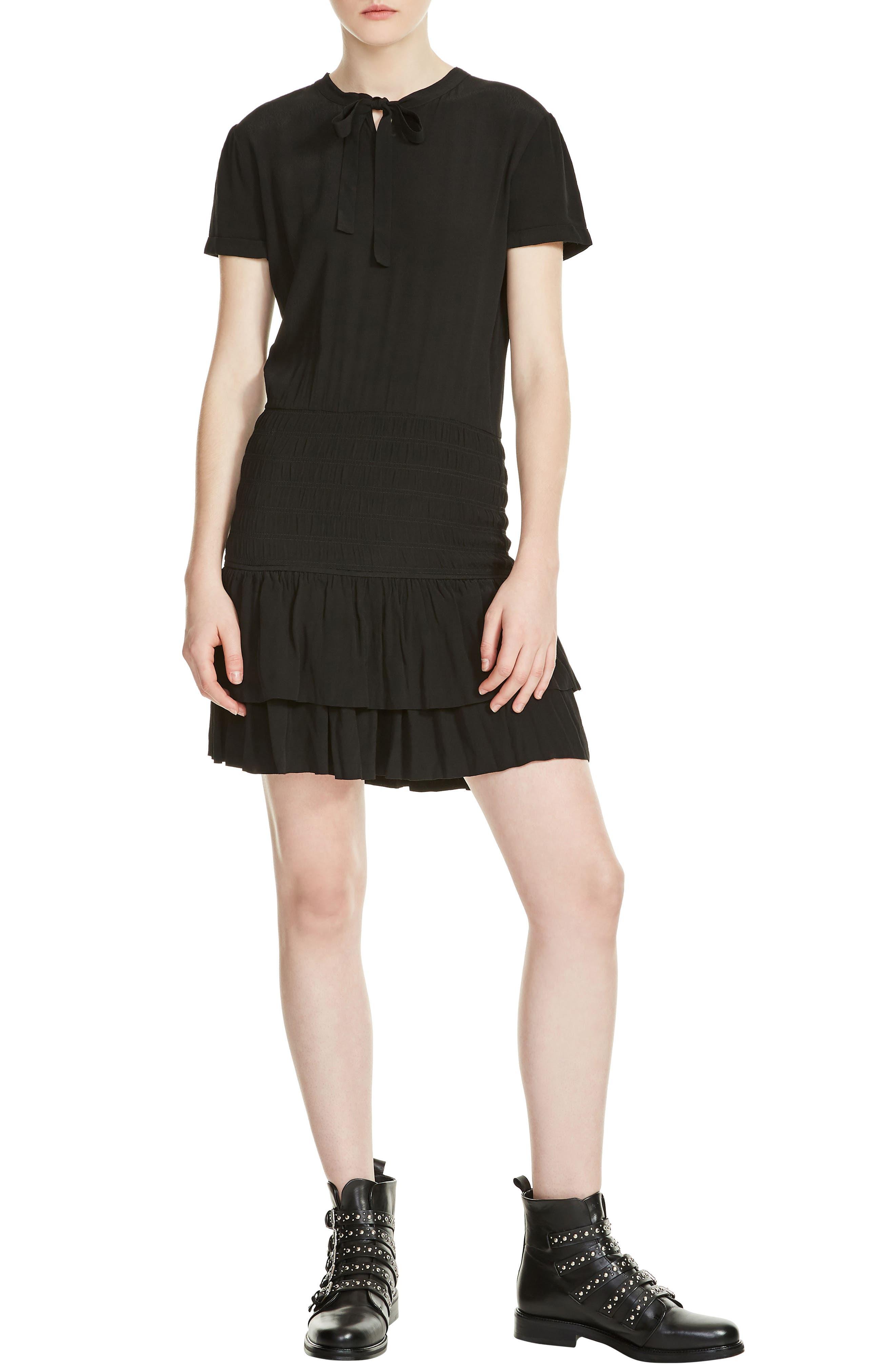 Raboa Smocked Dress,                             Main thumbnail 1, color,                             Black