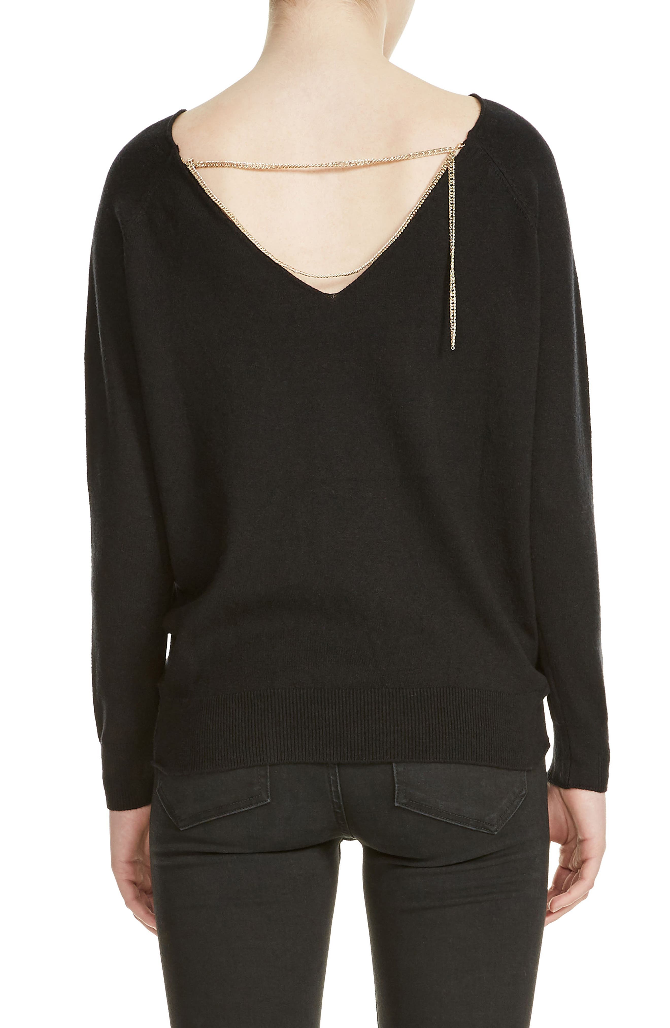 Macademia Chain Back Sweater,                             Alternate thumbnail 2, color,                             Black