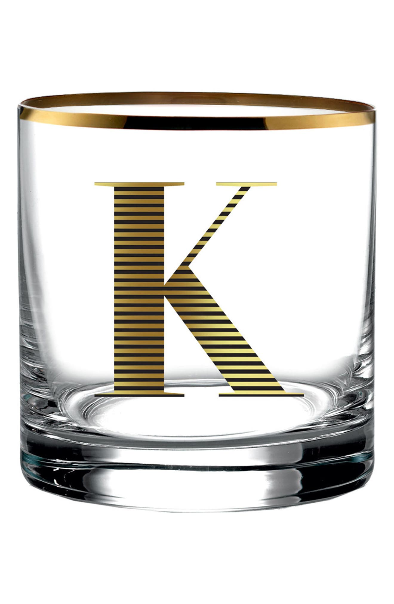 Monogram Old Fashioned Glass,                         Main,                         color, K