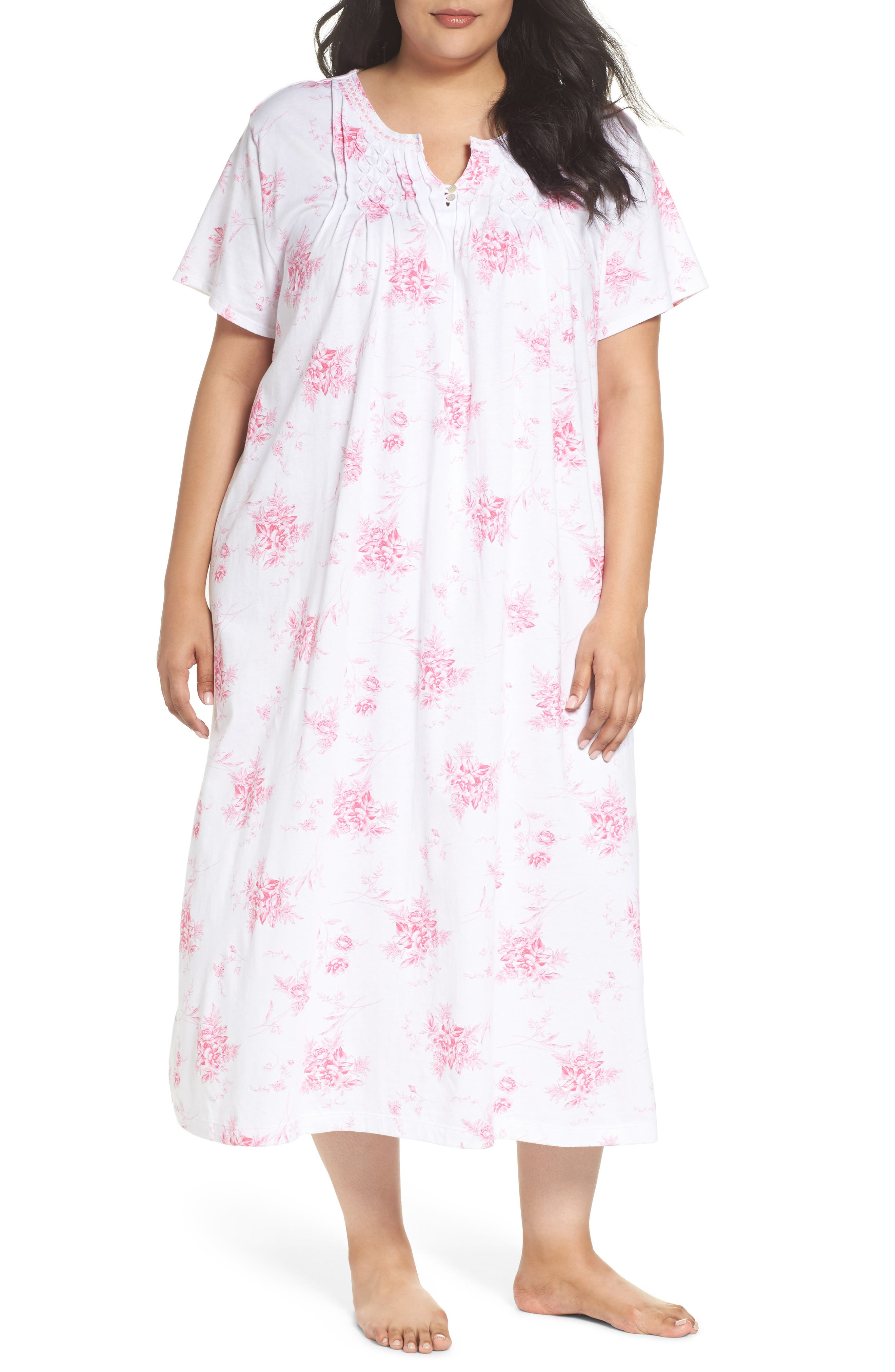 Cotton Jersey Long Nightgown,                             Main thumbnail 1, color,                             Bouquet Swing