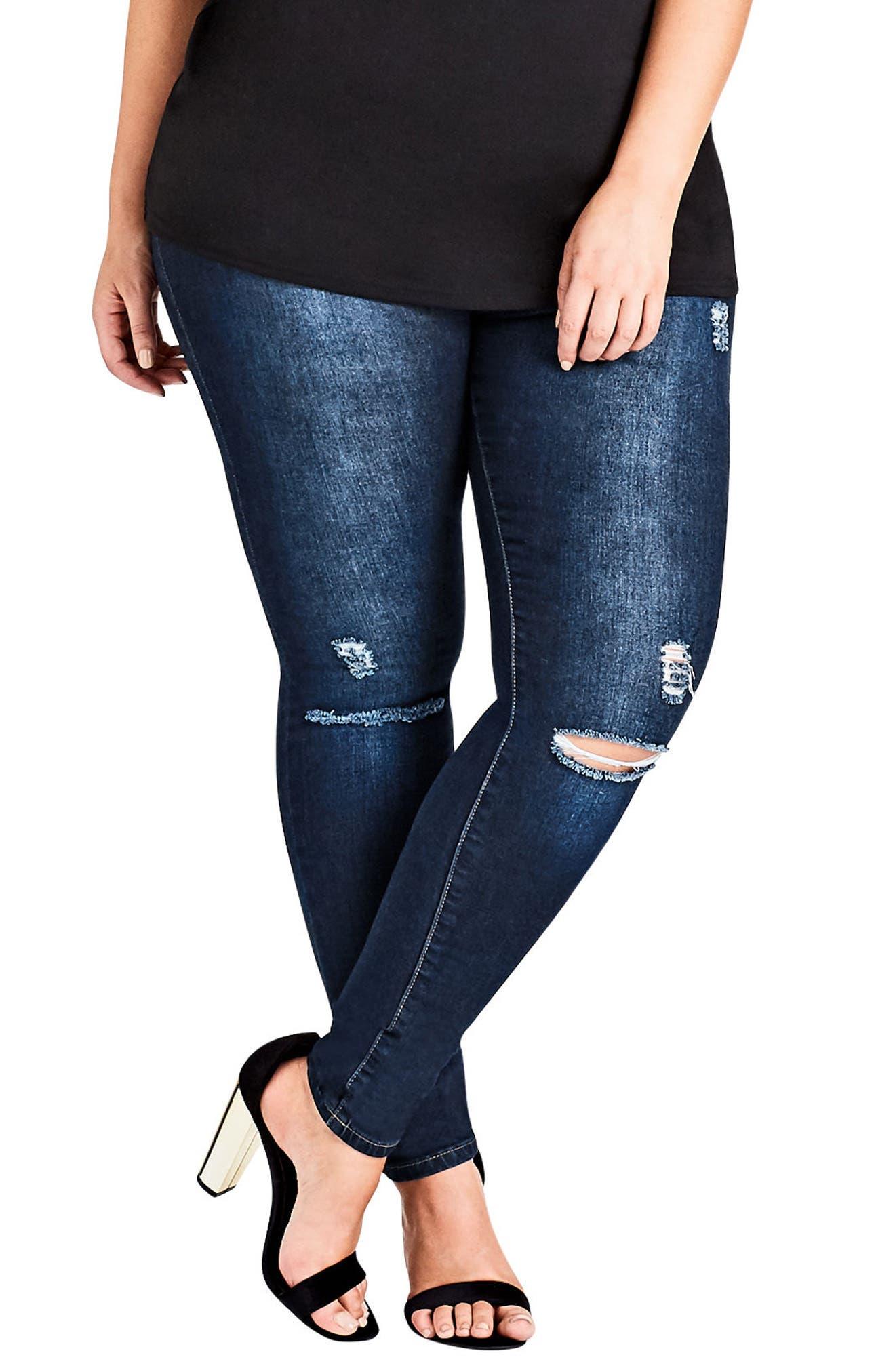 Simple Ripped Skinny Jeans,                         Main,                         color, Dark Denim