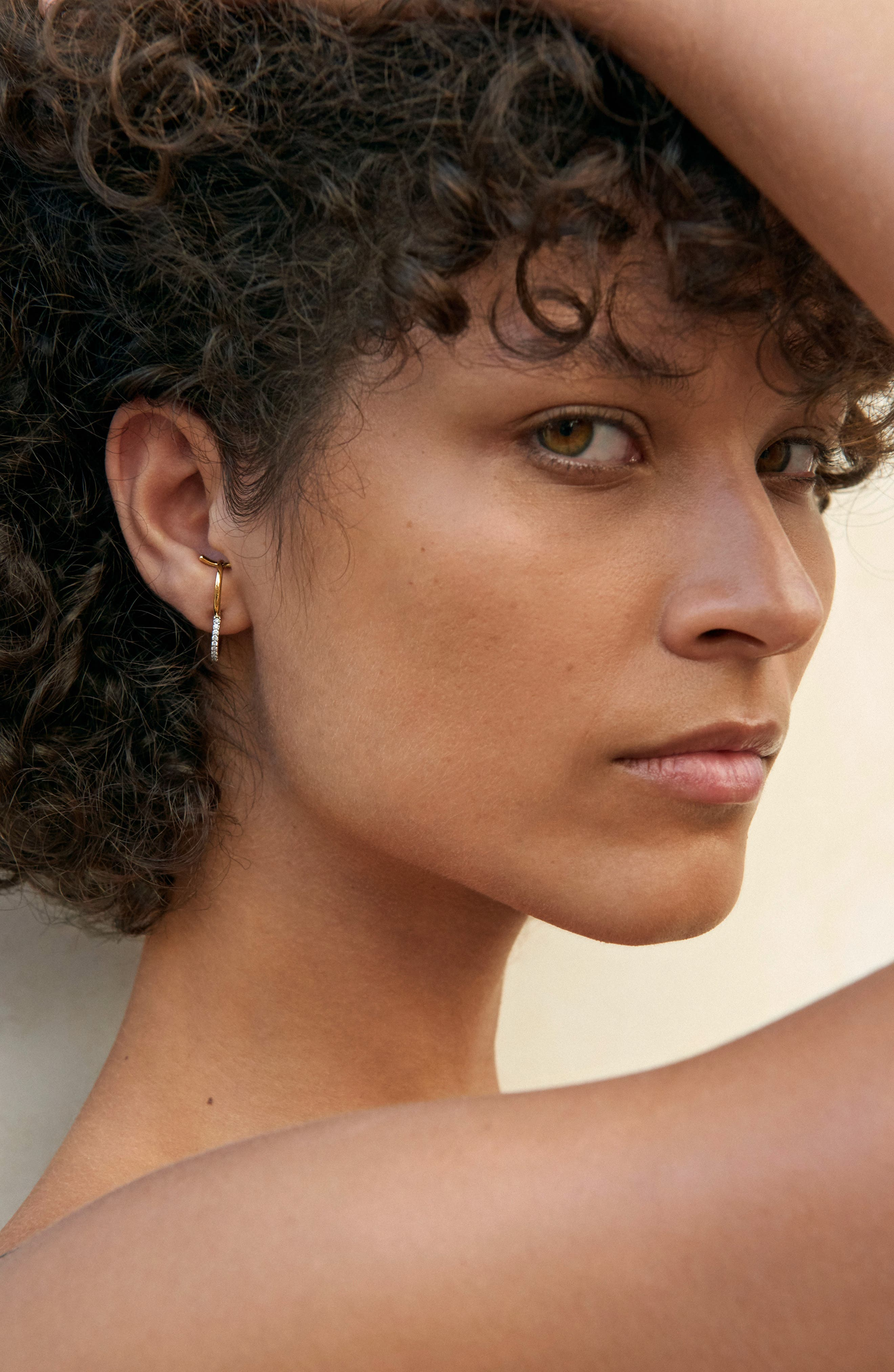 Bloom Earring,                             Alternate thumbnail 2, color,                             Yellow White Gold Diamonds