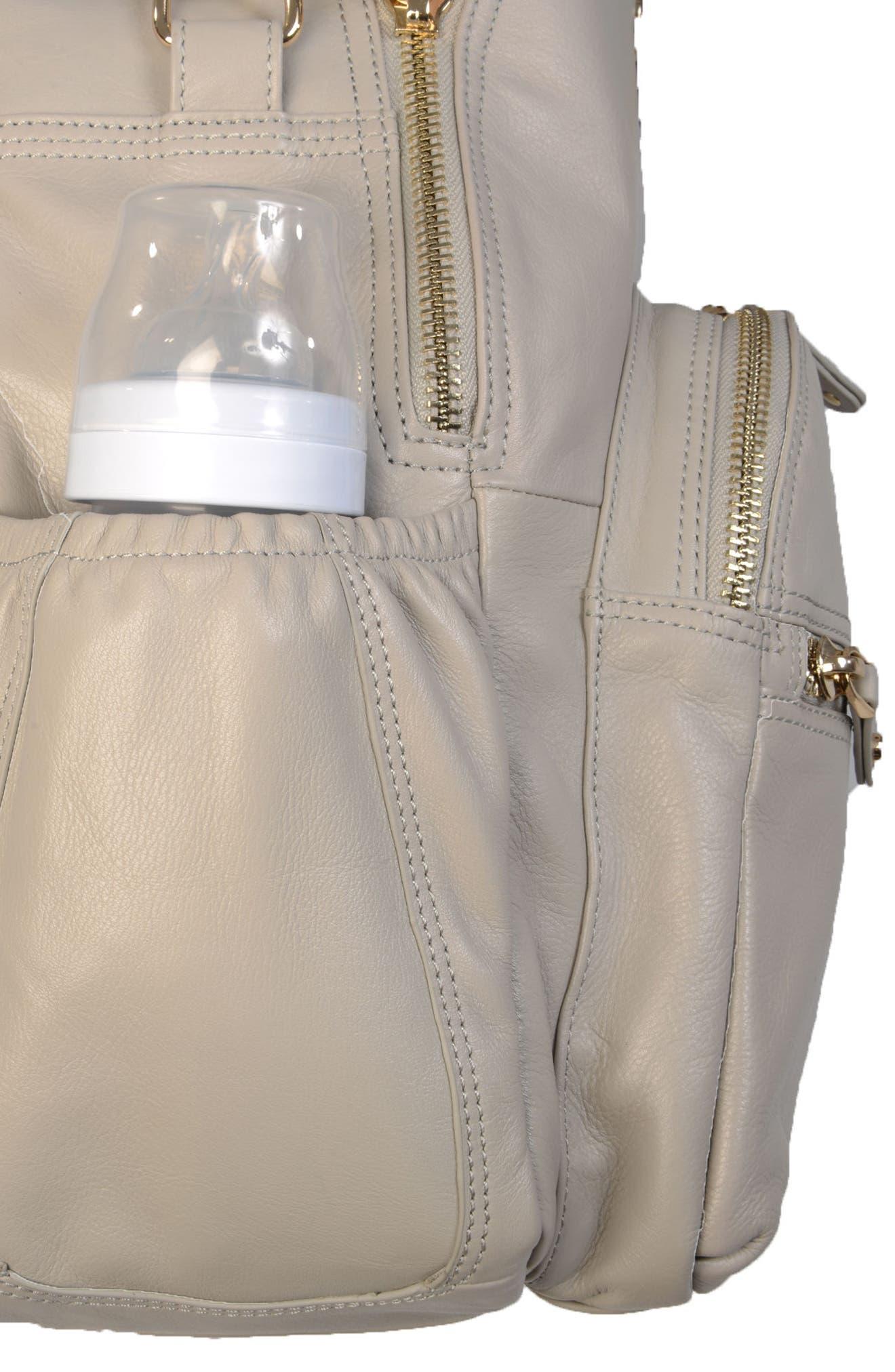 Joy XL Leather Backpack,                             Alternate thumbnail 17, color,                             Ice Grey