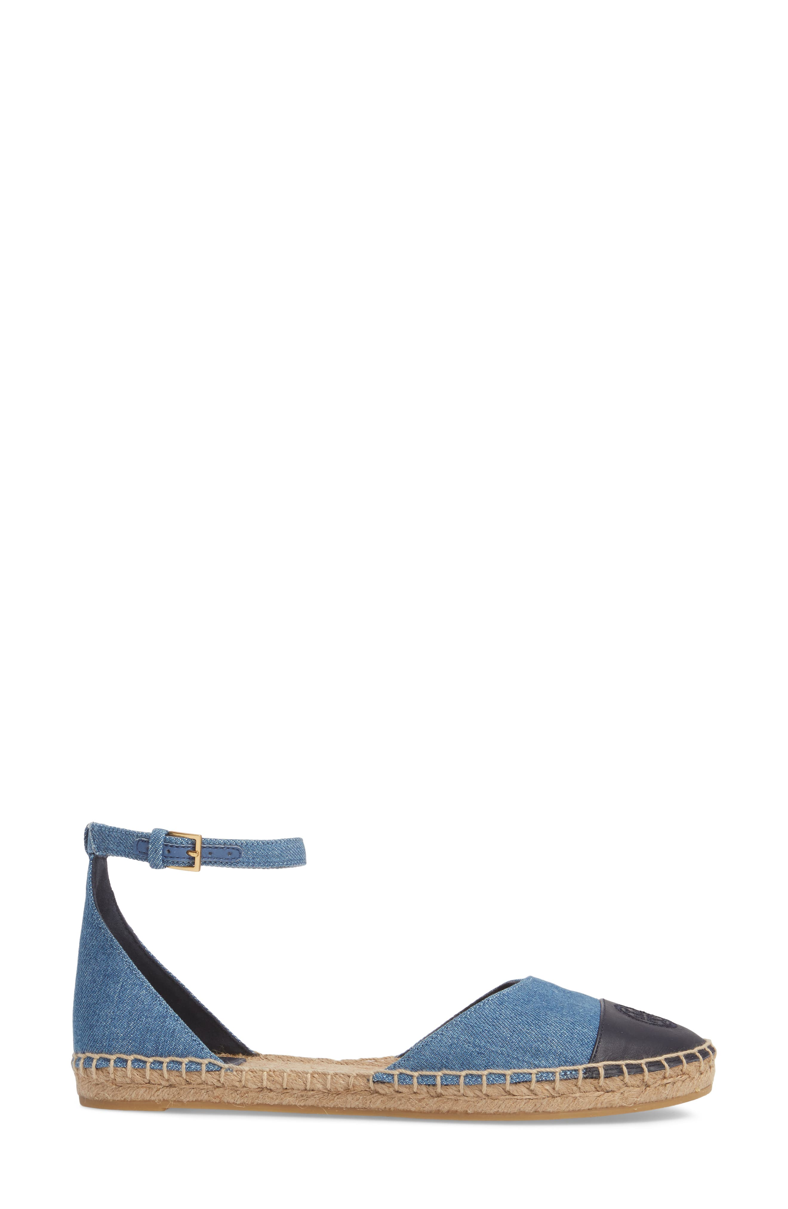 Ankle Strap Espadrille,                             Alternate thumbnail 3, color,                             Denim Chambray/ Perfect Navy