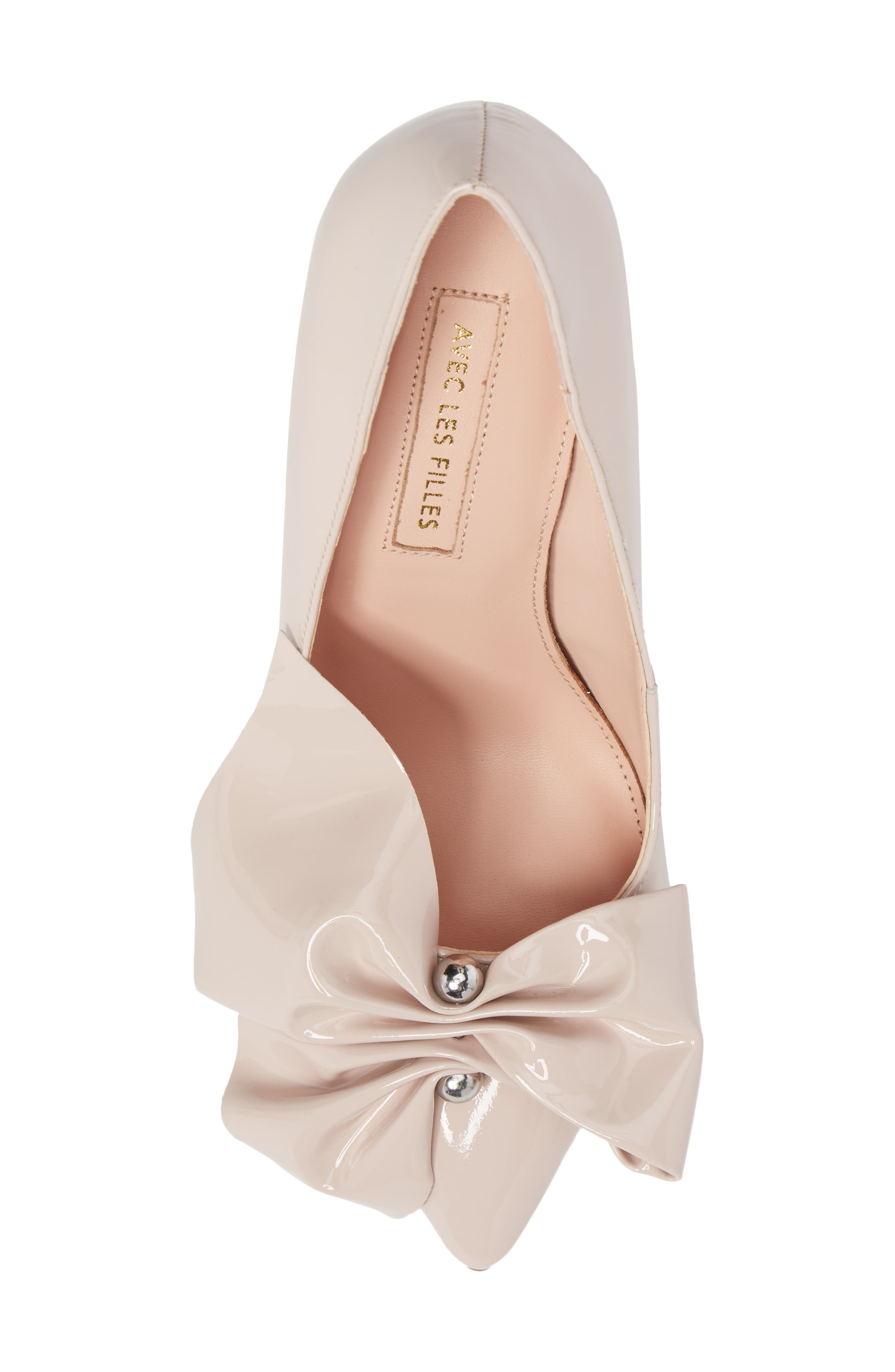 Bow Pointy Toe Pump,                             Alternate thumbnail 5, color,                             Avec Pink Leather