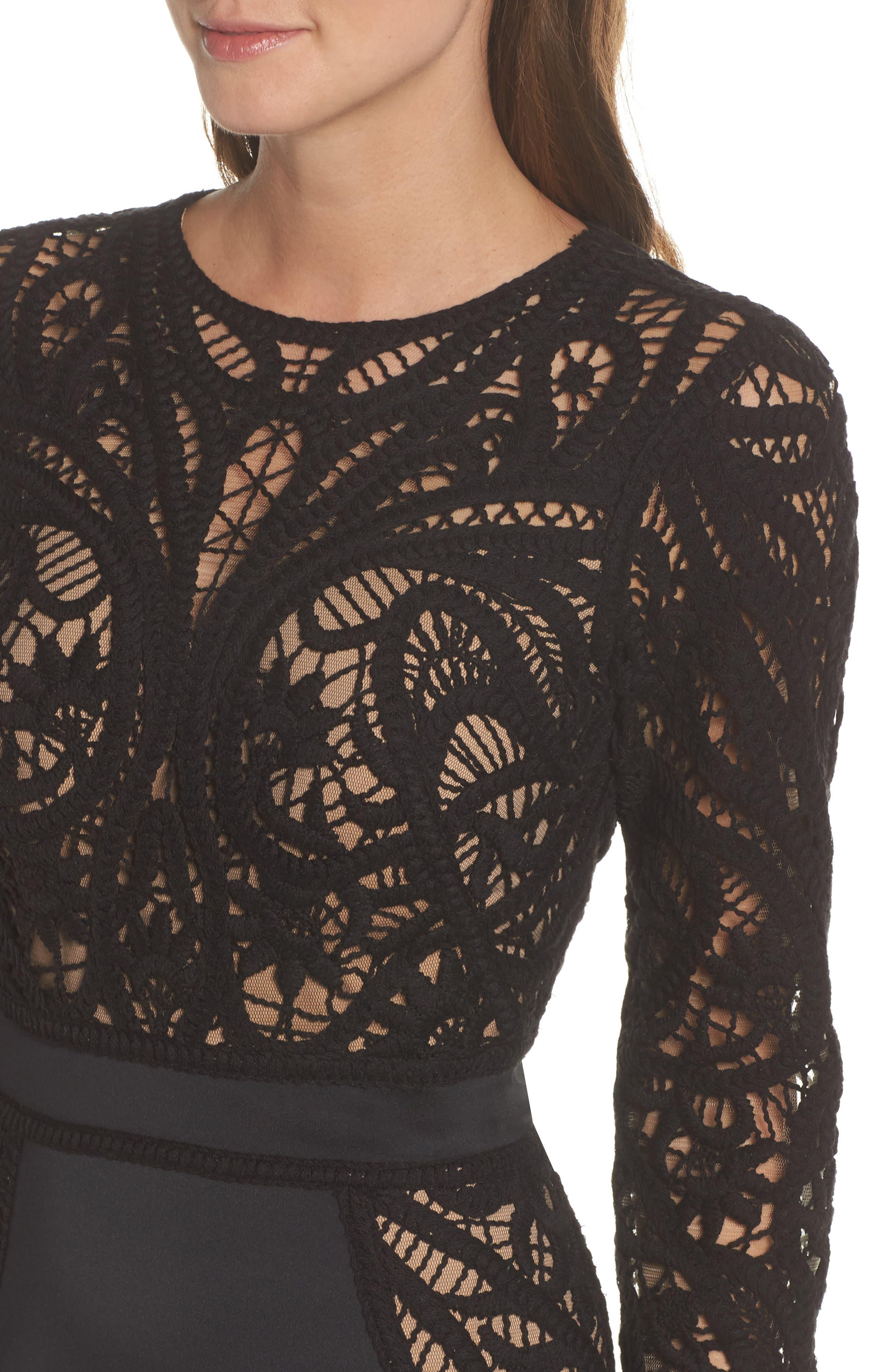 Alternate Image 4  - Tadashi Shoji Crochet & Neoprene Dress
