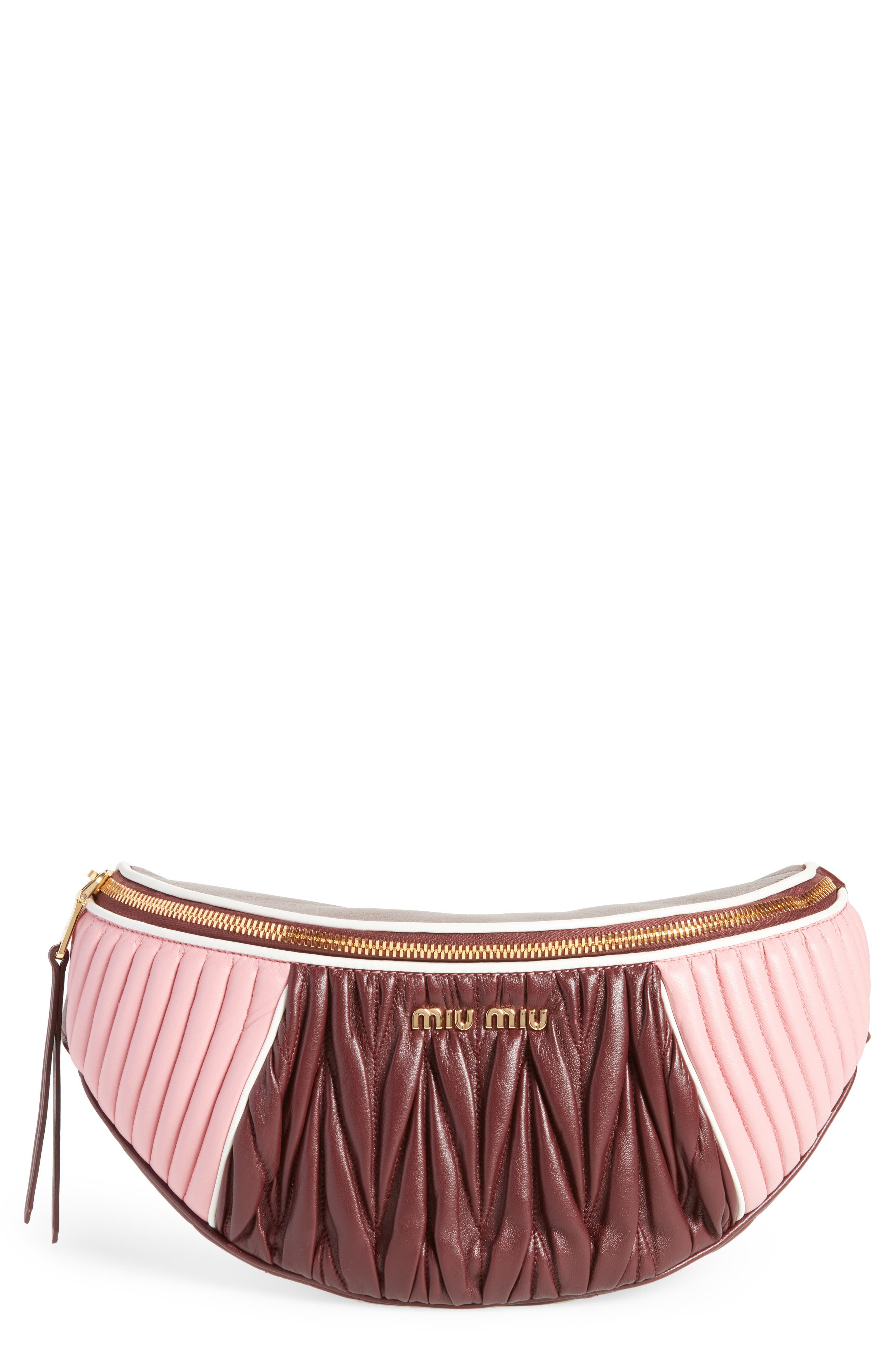 Main Image - Miu Miu Rider Matelassé Leather Belt Bag