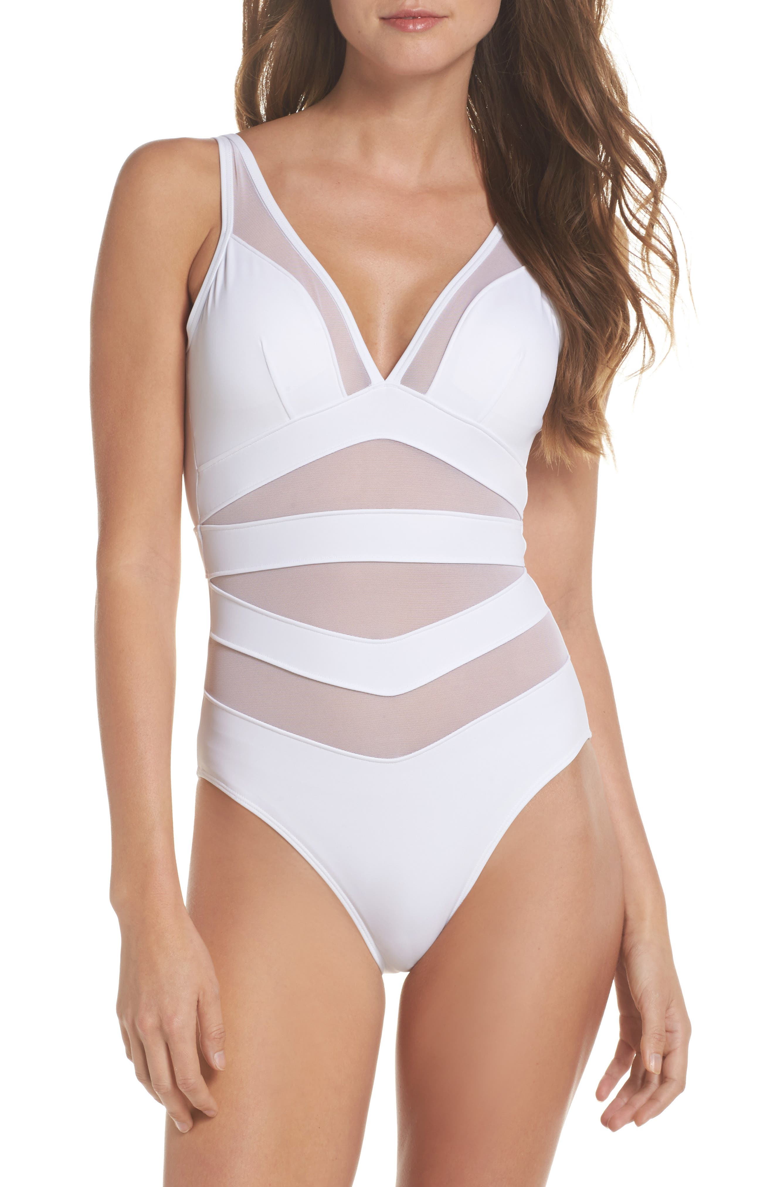 Alternate Image 1 Selected - Ted Baker London Illiana Mesh Detail One-Piece Swimsuit