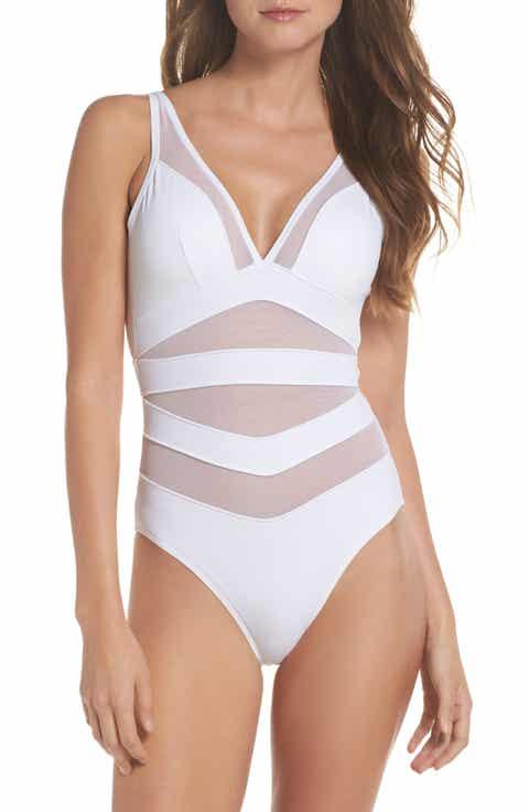 Ted Baker London Illiana Mesh Detail One-Piece Swimsuit