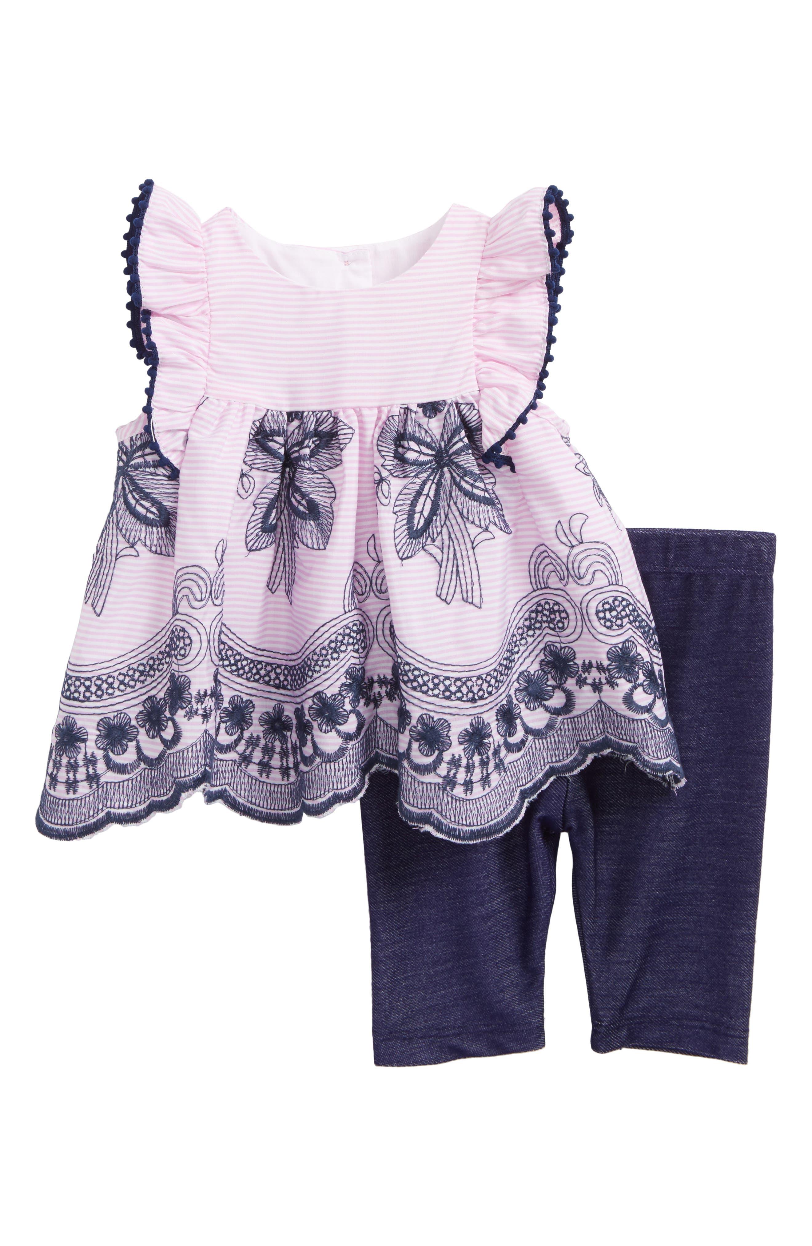 Flutter Sleeve Dress & Leggings,                         Main,                         color, Pink/ White