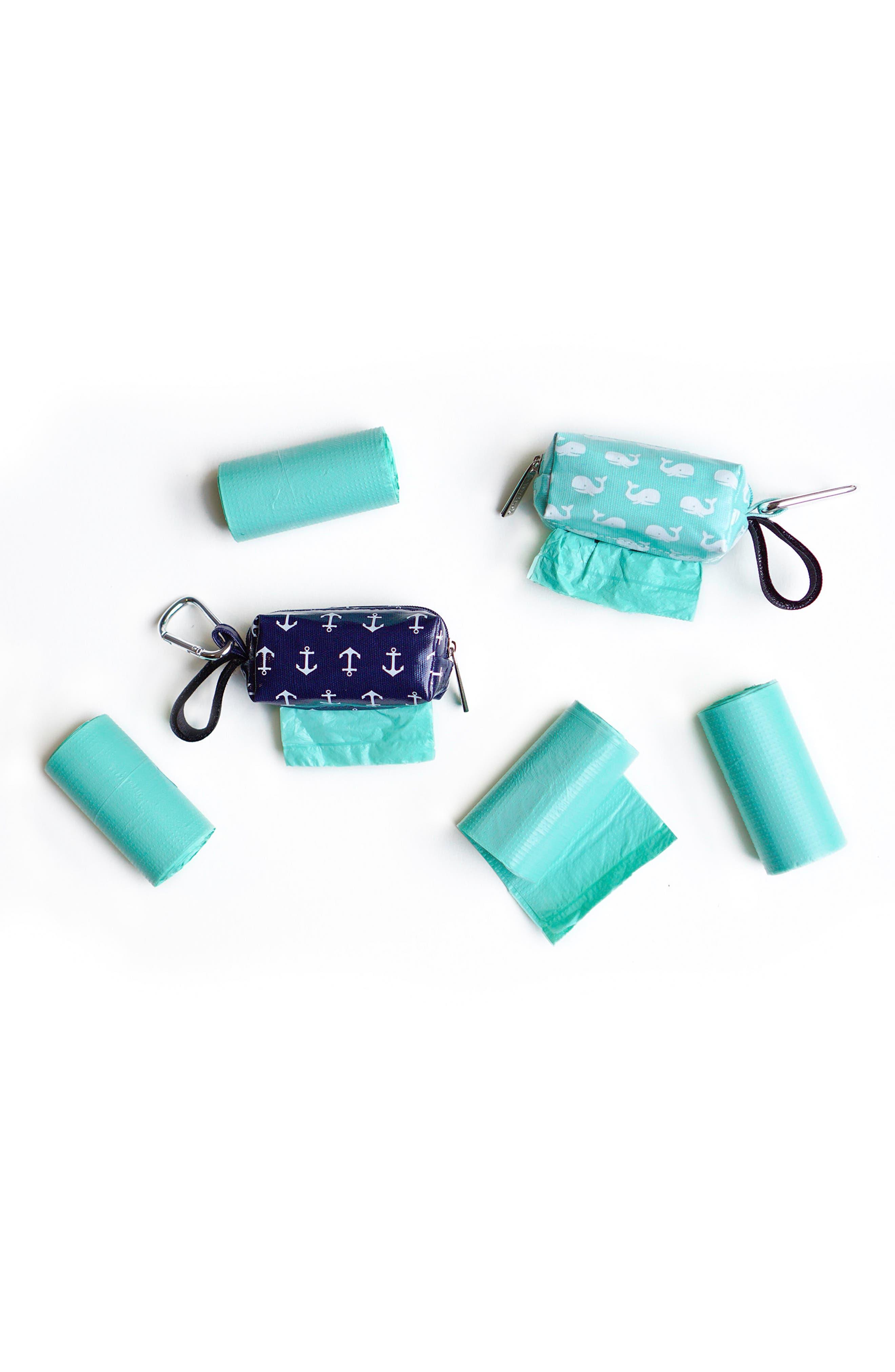 Portable Clip-On Dispenser & Bag Set,                             Alternate thumbnail 2, color,                             Navy/ Seafoam