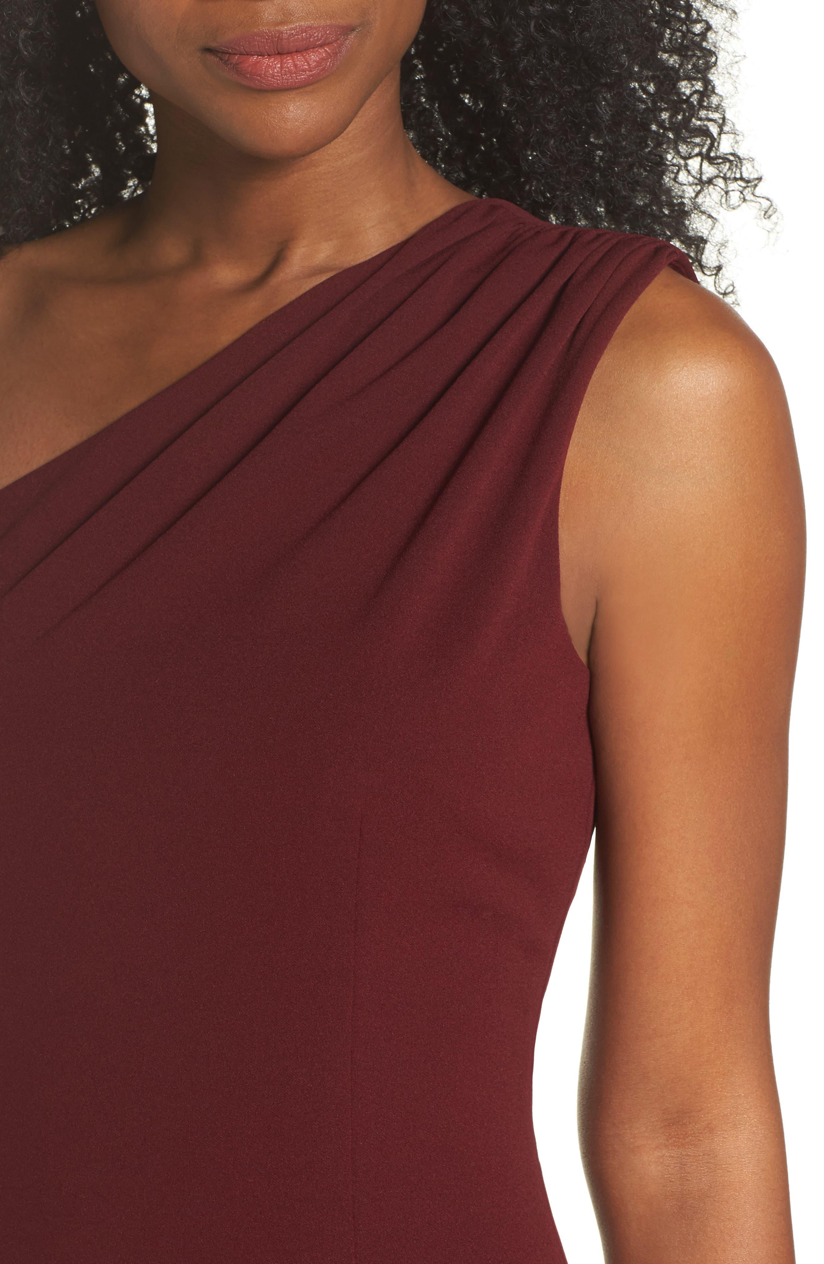 Angelina One-Shoulder Crepe Column Gown,                             Alternate thumbnail 4, color,                             Bordeaux
