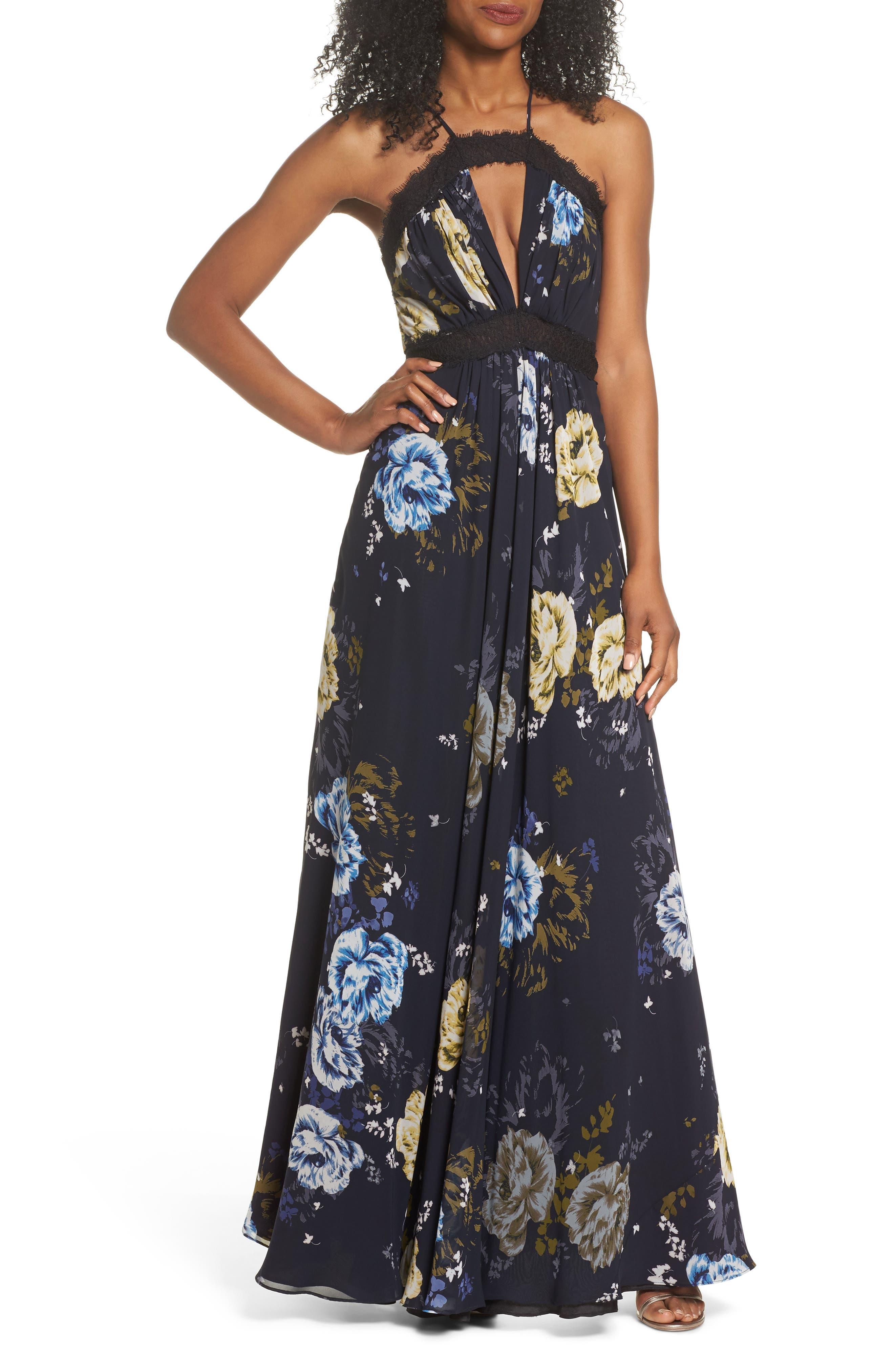 Lace Trim Cutout Gown,                         Main,                         color, Margaret Print