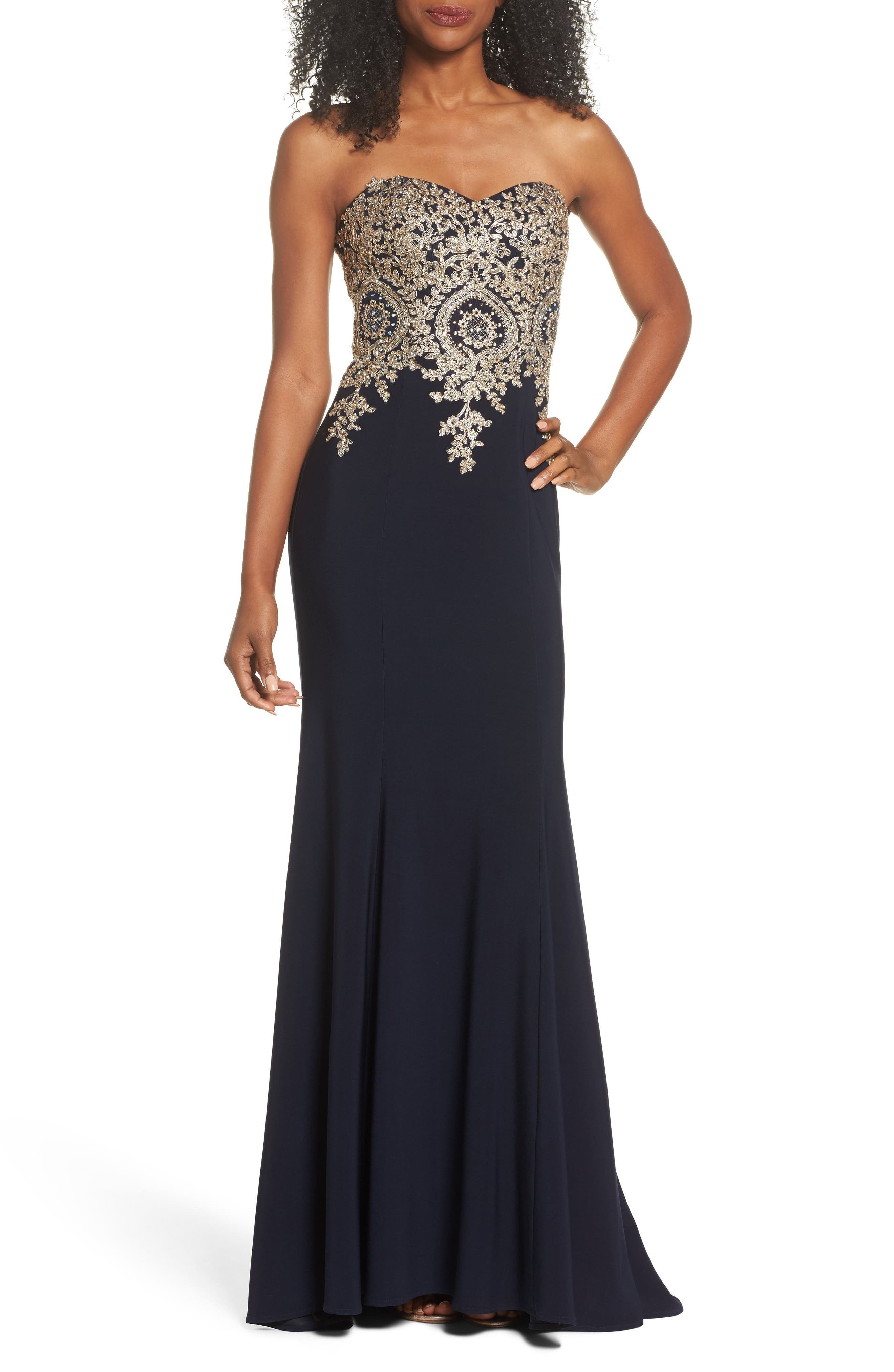 Xscape Corset Back Embellished Strapless Gown