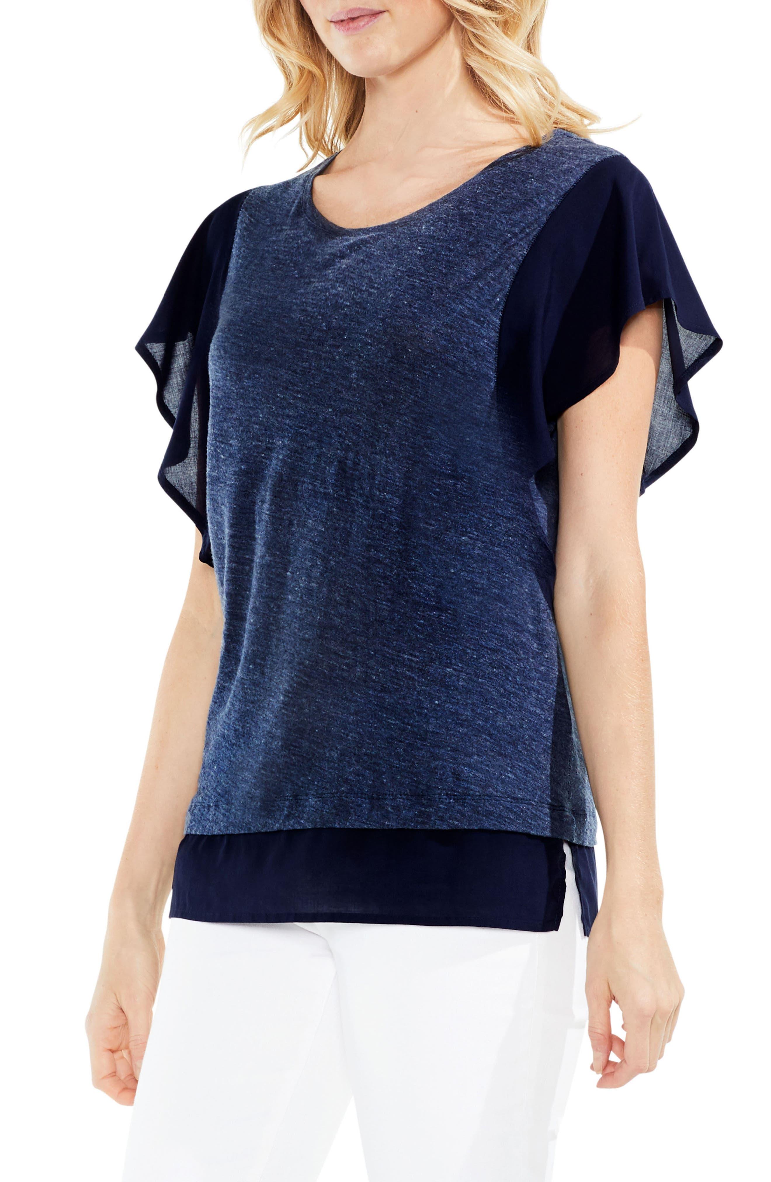 Ruffle Sleeve Top,                         Main,                         color, Indigo Night Heather