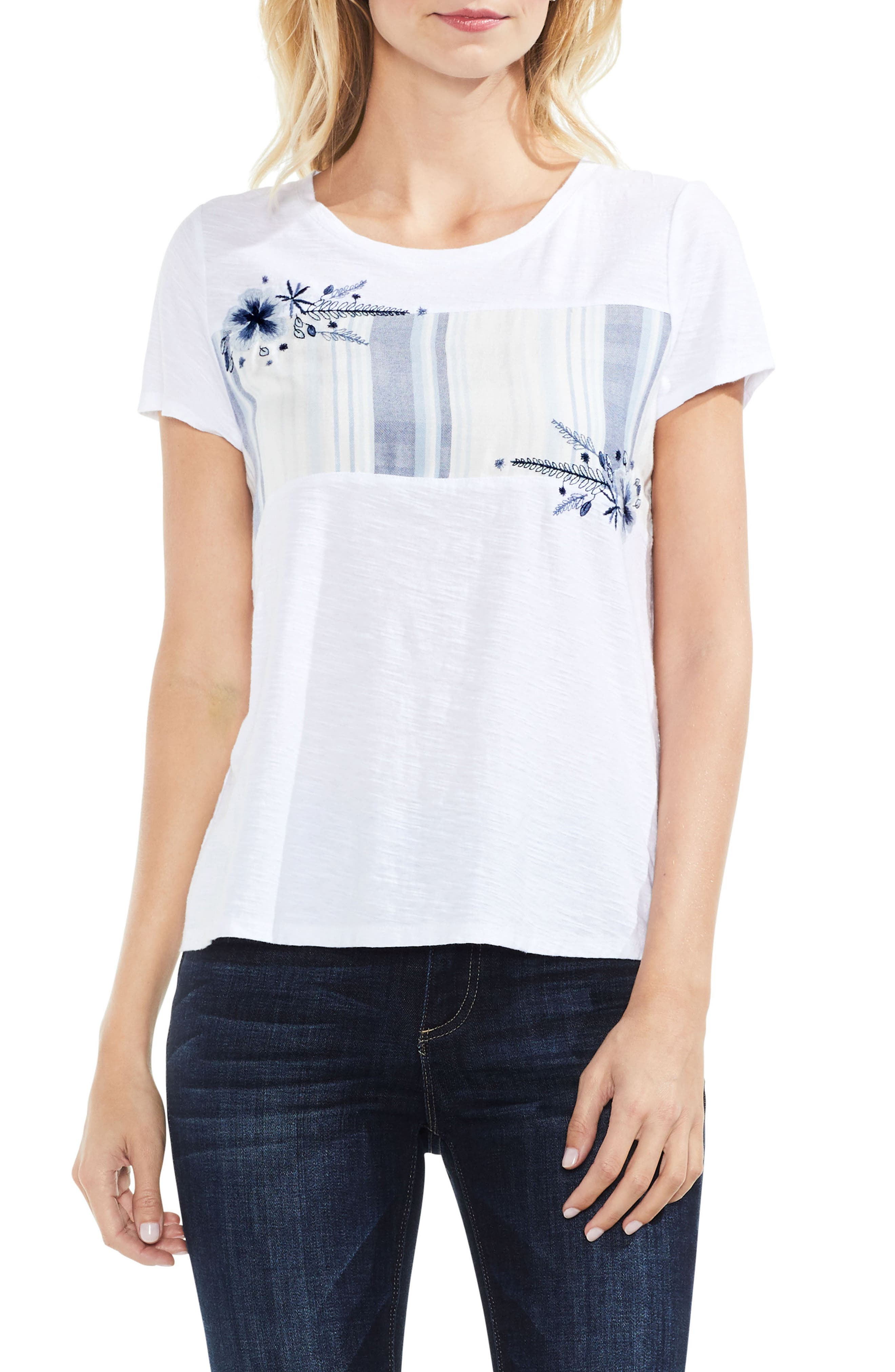 Main Image - Vince Camuto Embroidered Stripe Inset Tee