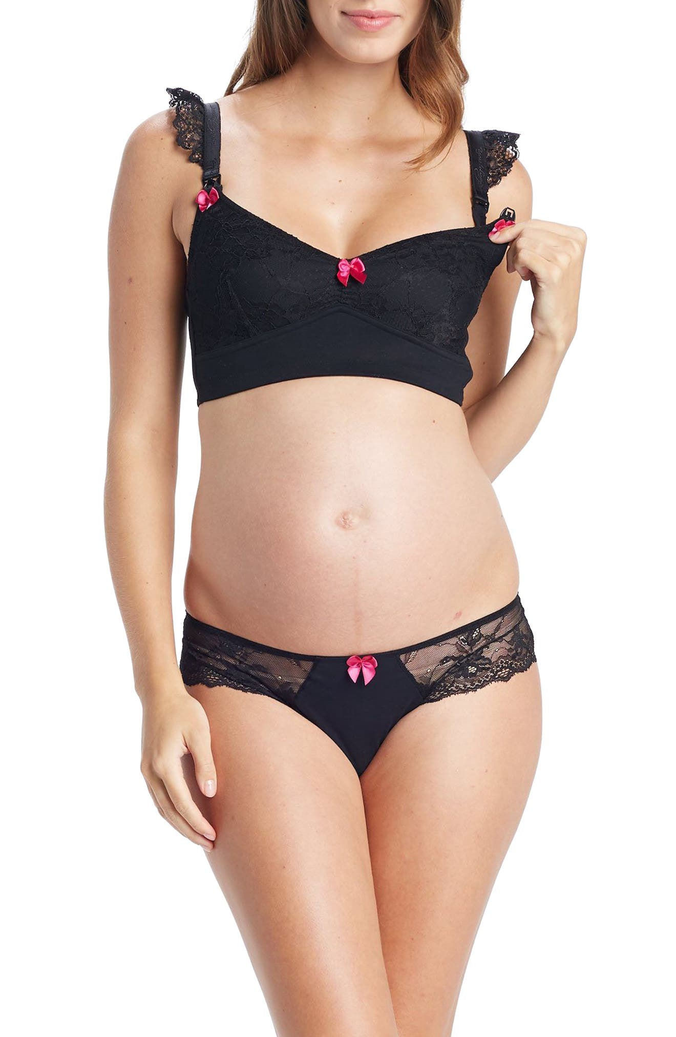 You! Lingerie Nova Lace Maternity Panties,                             Alternate thumbnail 4, color,                             Black