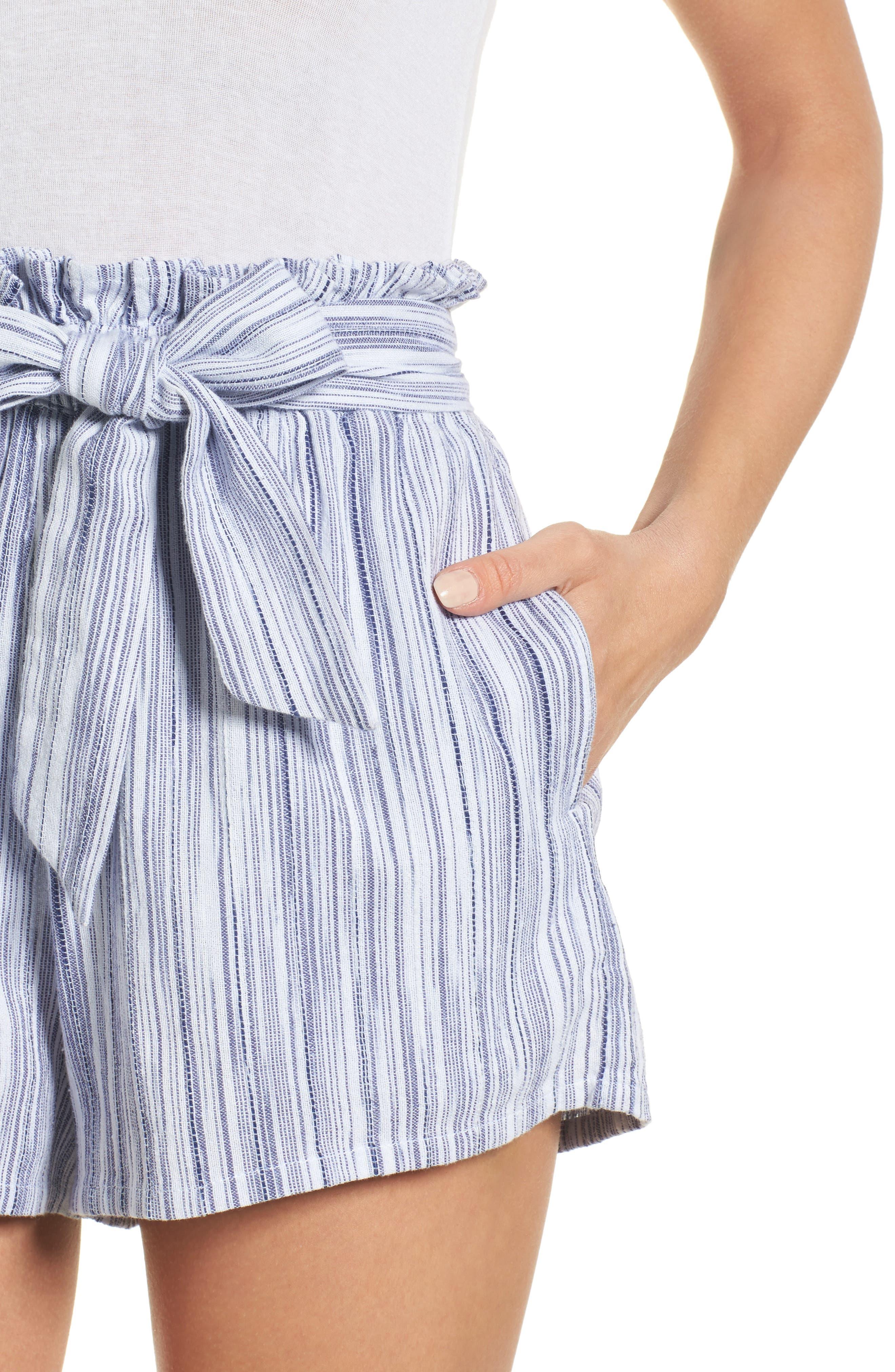 Stripe Paperbag Waist Shorts,                             Alternate thumbnail 5, color,                             Riviera Blue