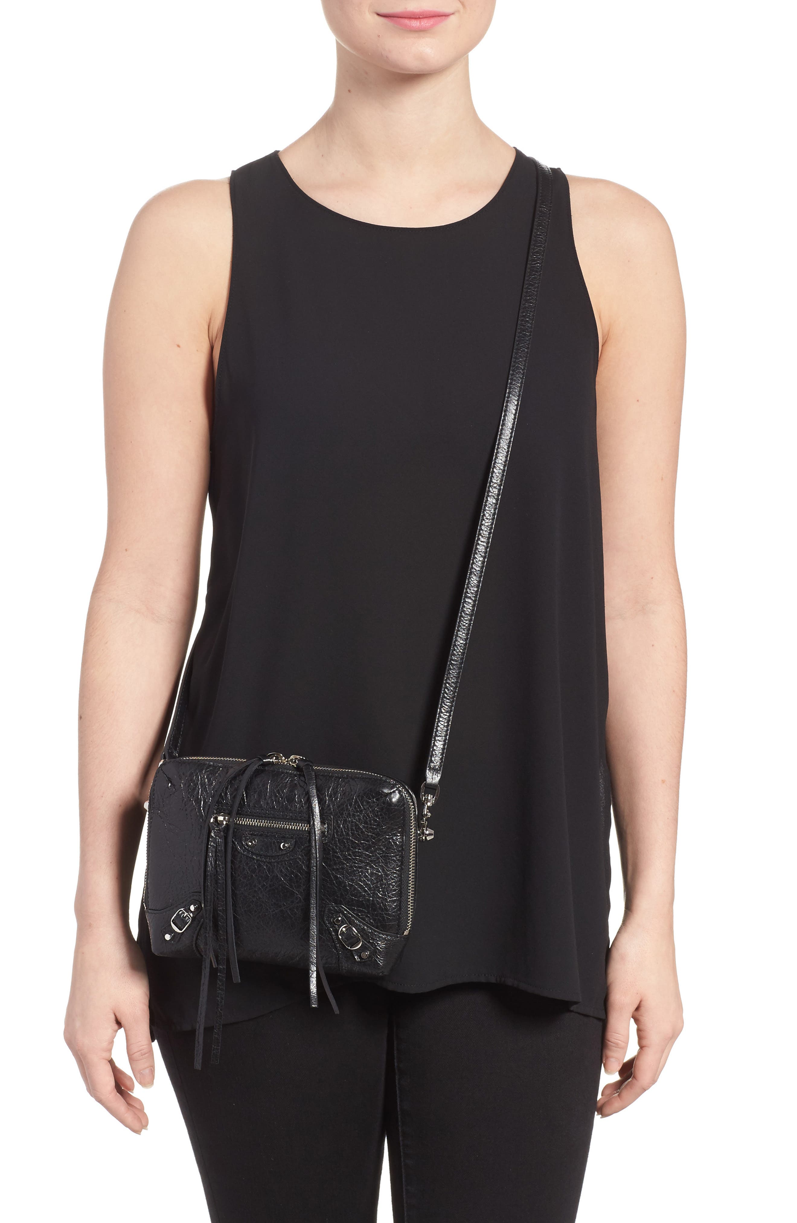 Extra Small Classic Reporter Leather Shoulder Bag,                             Alternate thumbnail 2, color,                             Noir
