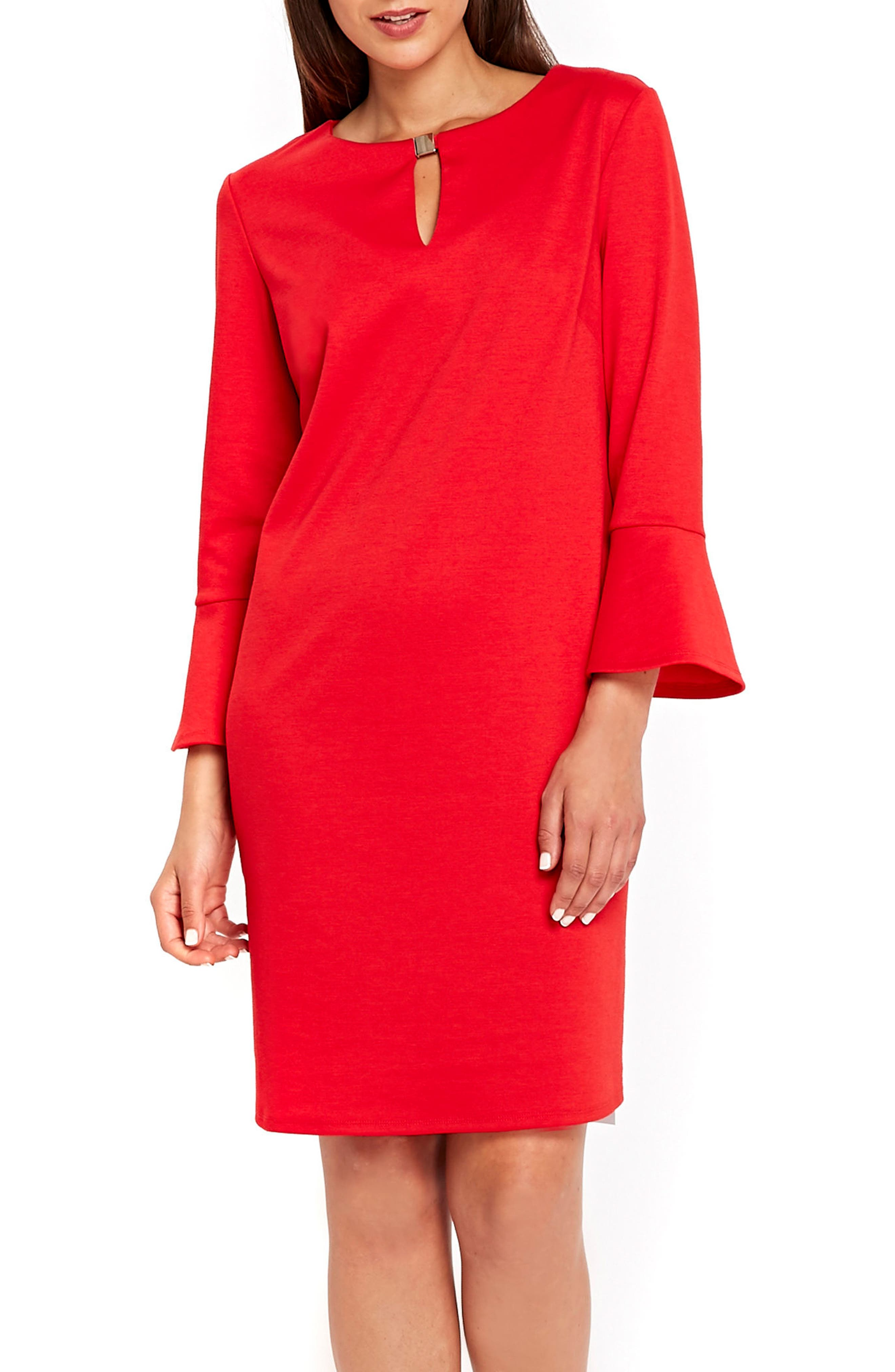 Bell Sleeve Keyhole Neck Dress,                             Main thumbnail 1, color,                             Red