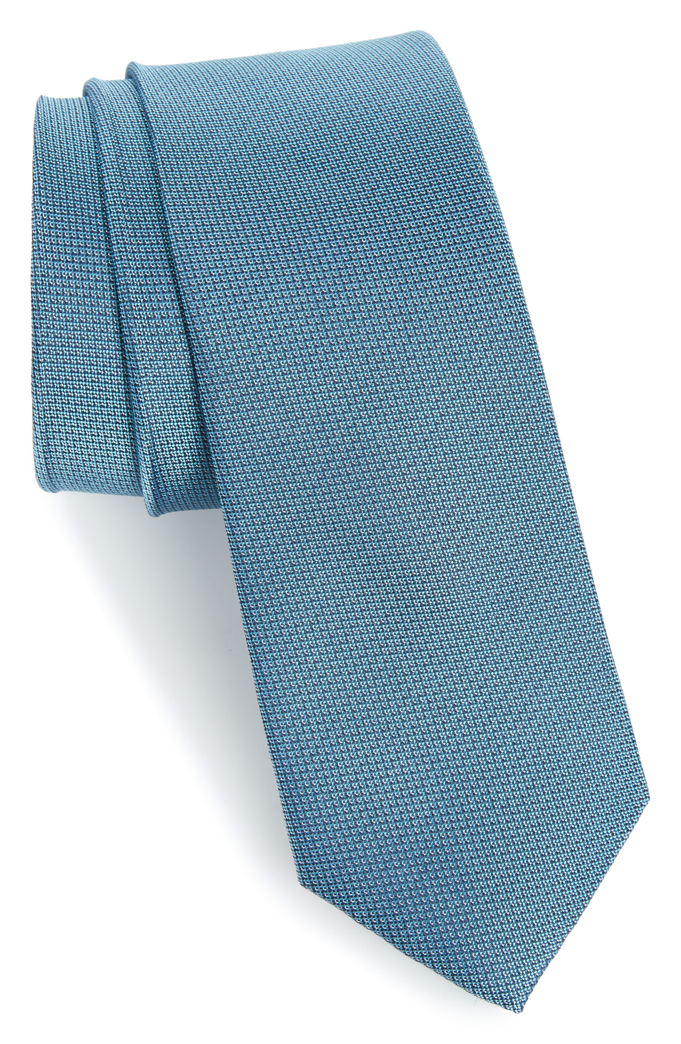 Eternity Unsolid Solid Silk Skinny Tie,                             Main thumbnail 1, color,                             Aqua/ Teal