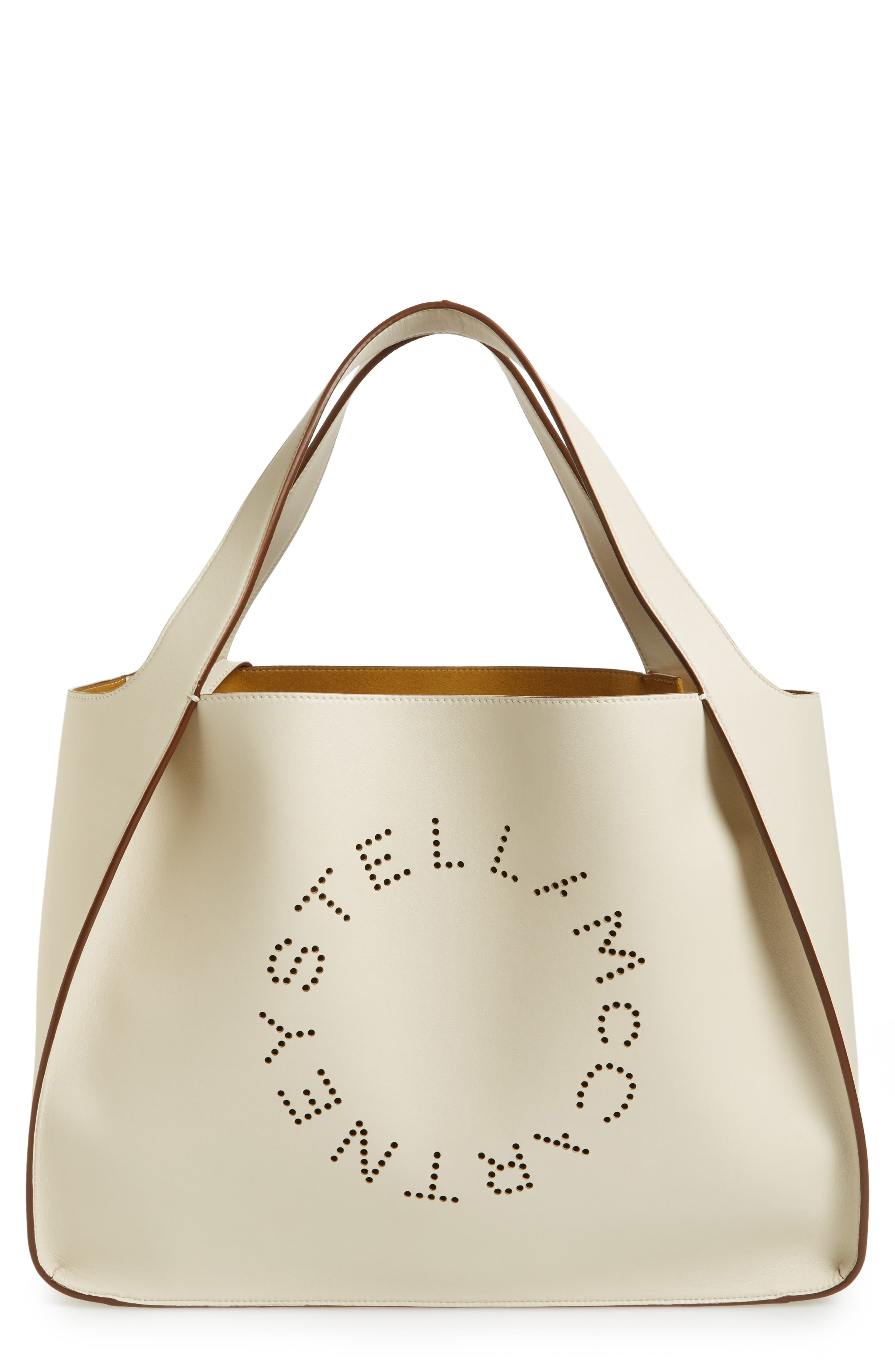 Medium Perforated Logo Faux Leather Tote,                             Main thumbnail 1, color,                             Pure White
