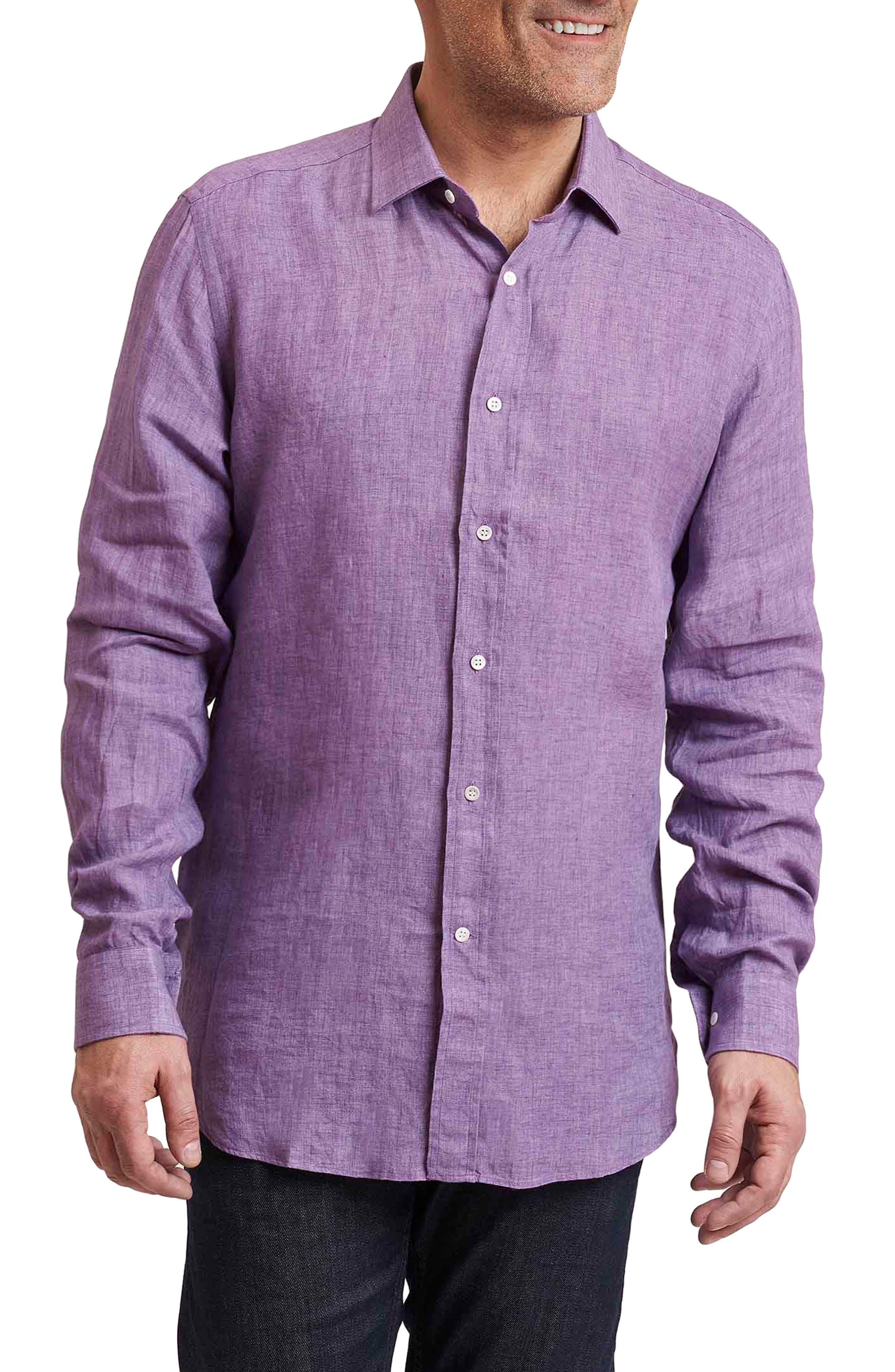 Delave Regular Fit Linen Sport Shirt,                         Main,                         color, Purple