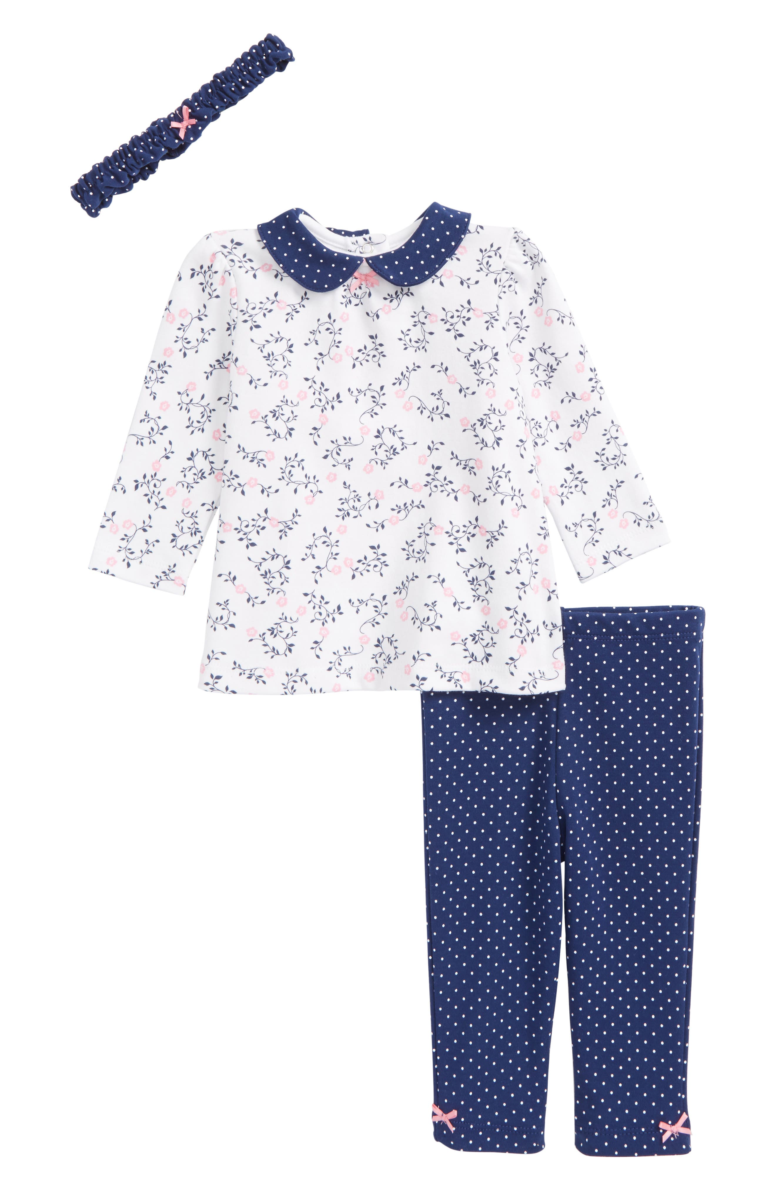 Main Image - Little Me Floral Print Top, Leggings & Headband Set (Baby Girls)