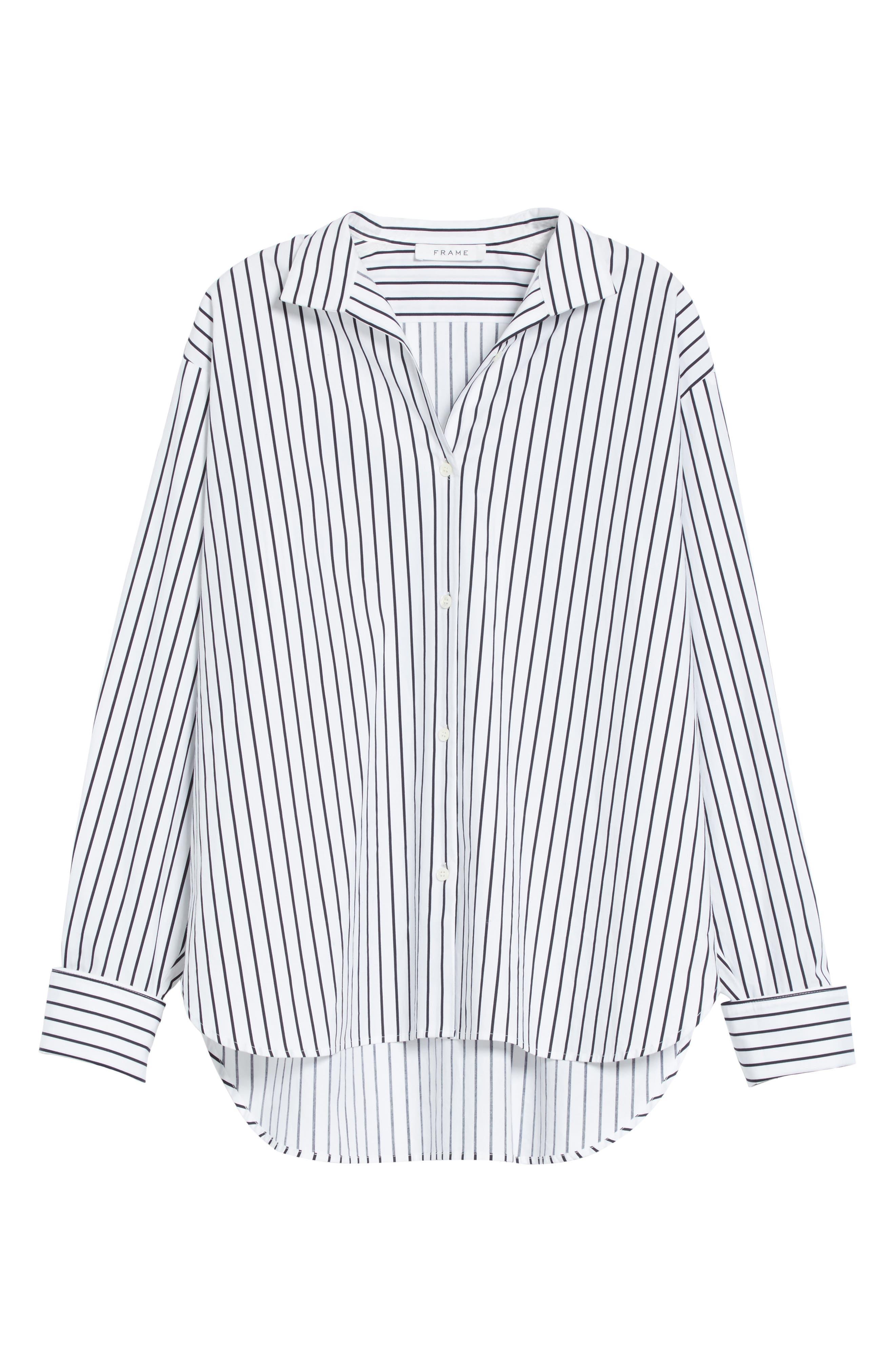 Stripe Cotton Blouse,                             Alternate thumbnail 6, color,                             Navy Multi