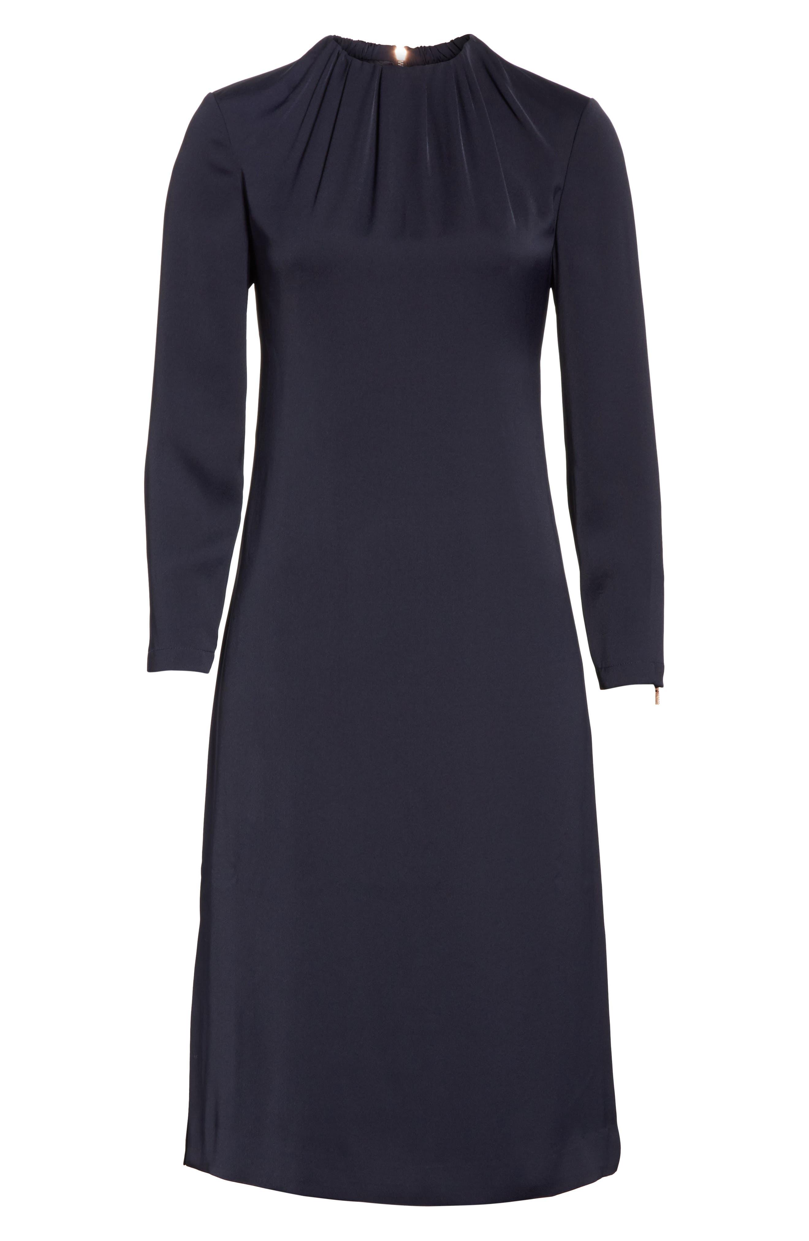 Ruched Neck Dress,                             Alternate thumbnail 5, color,                             Dark Blue