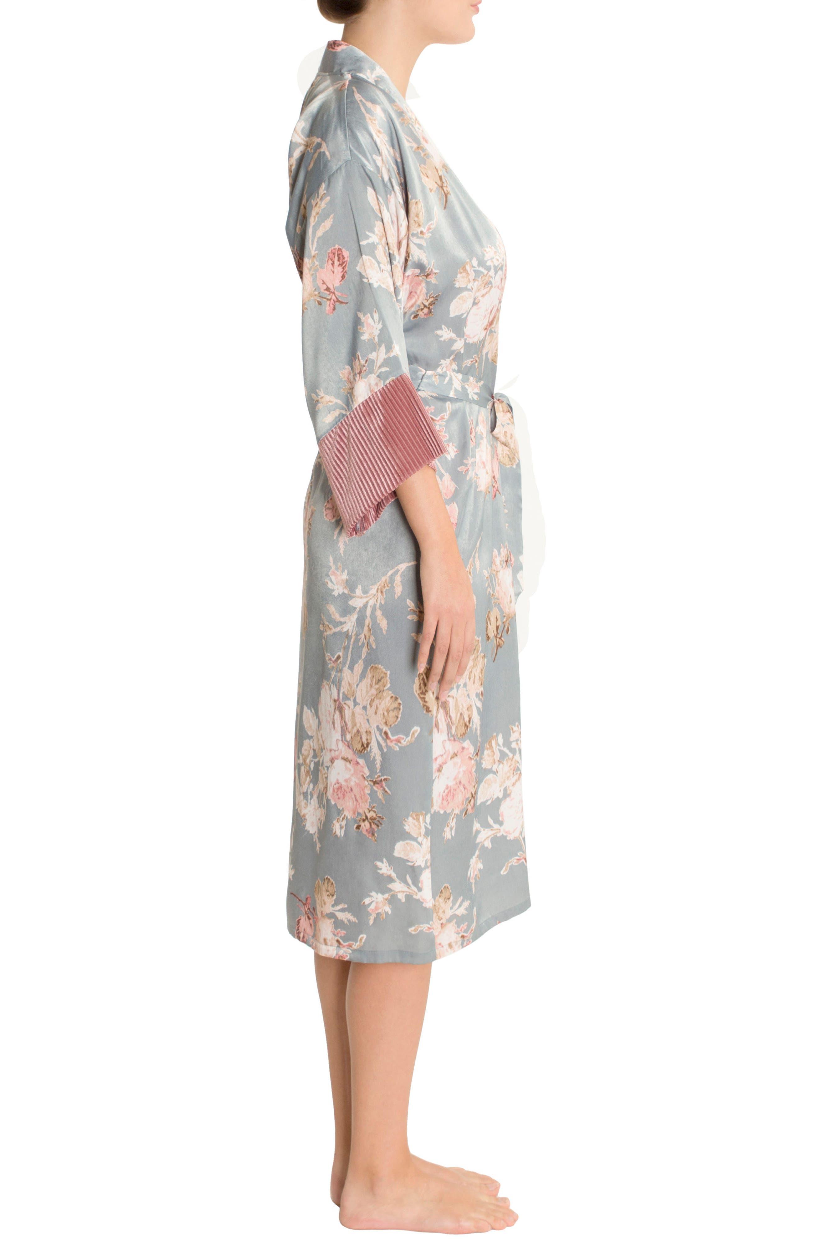 Satin Kimono Robe,                             Alternate thumbnail 3, color,                             Rose Print