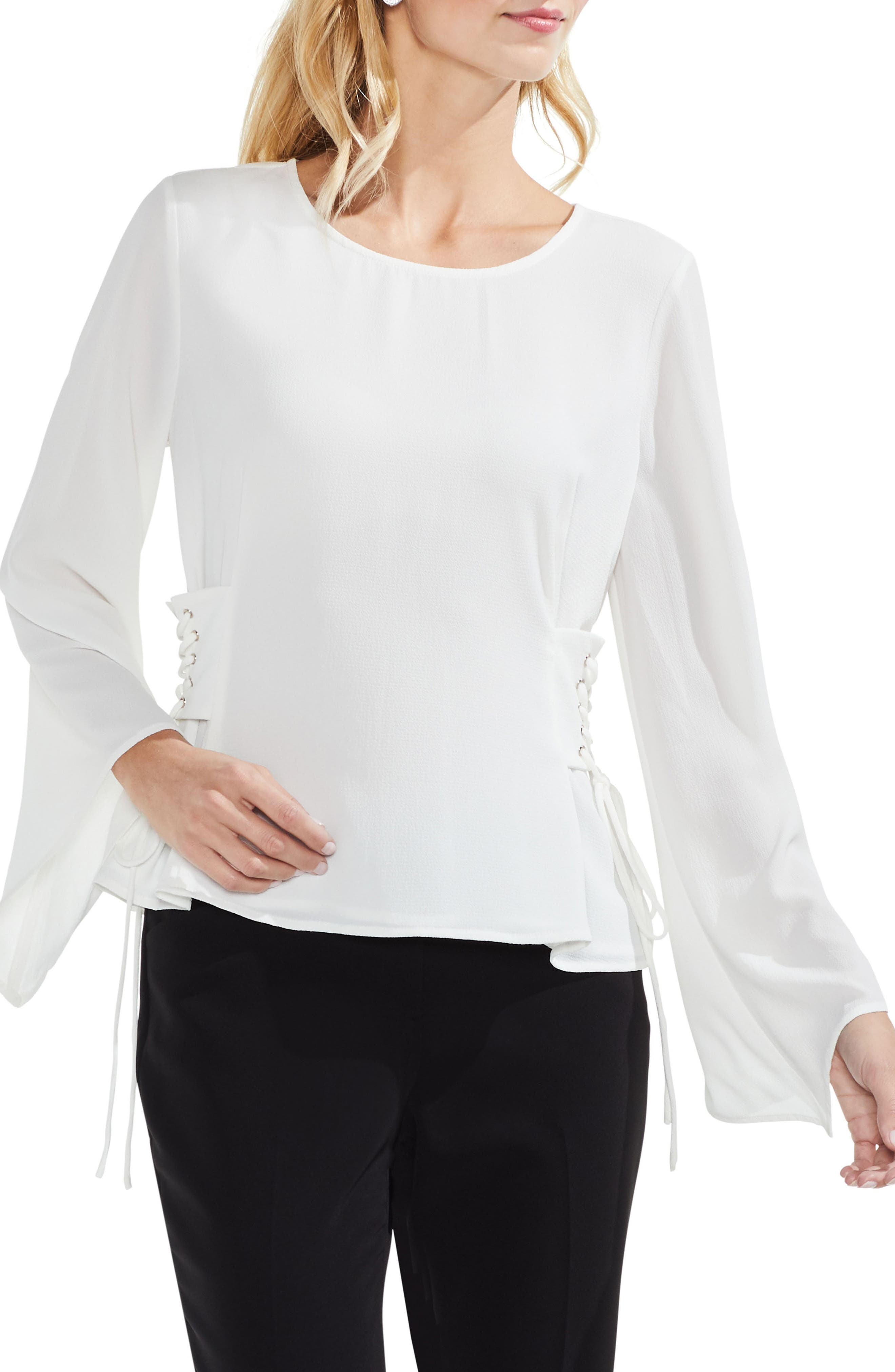 Lace-Up Bell Sleeve Blouse,                         Main,                         color, New Ivory