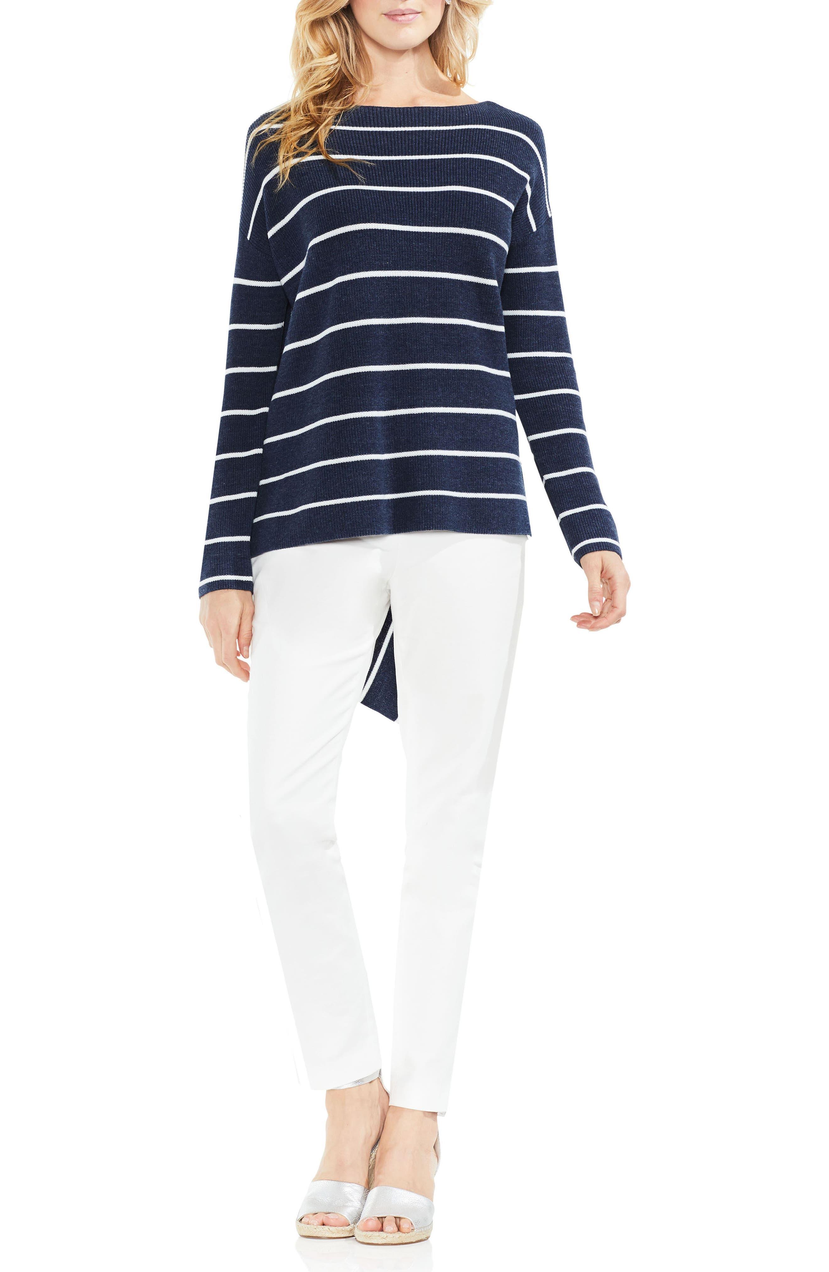 Asymmetrical Hem Stripe Sweater,                             Alternate thumbnail 3, color,                             Indigo Night Heather
