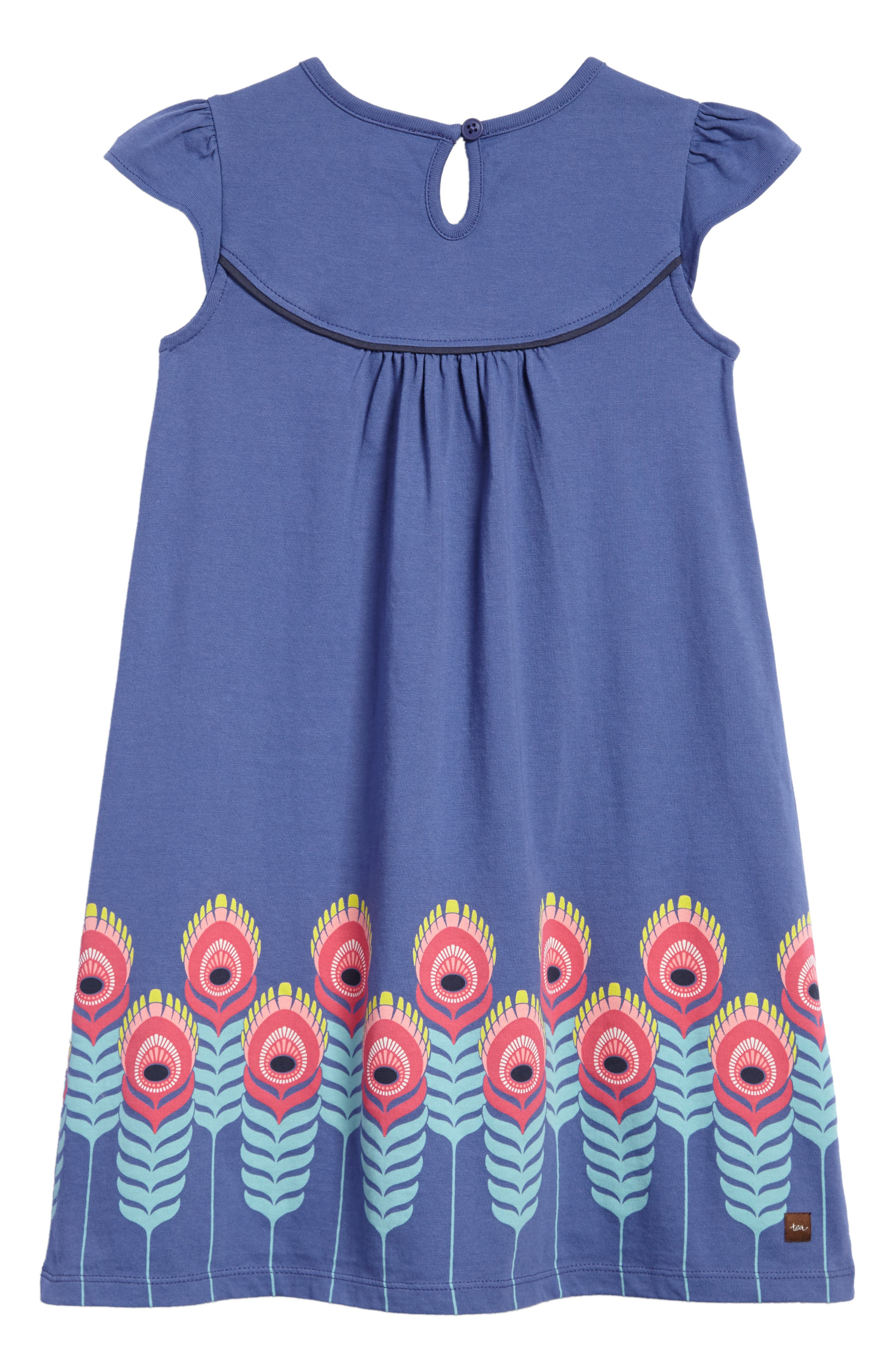 Feather Graphic Shift Dress,                             Alternate thumbnail 2, color,                             Bluebell