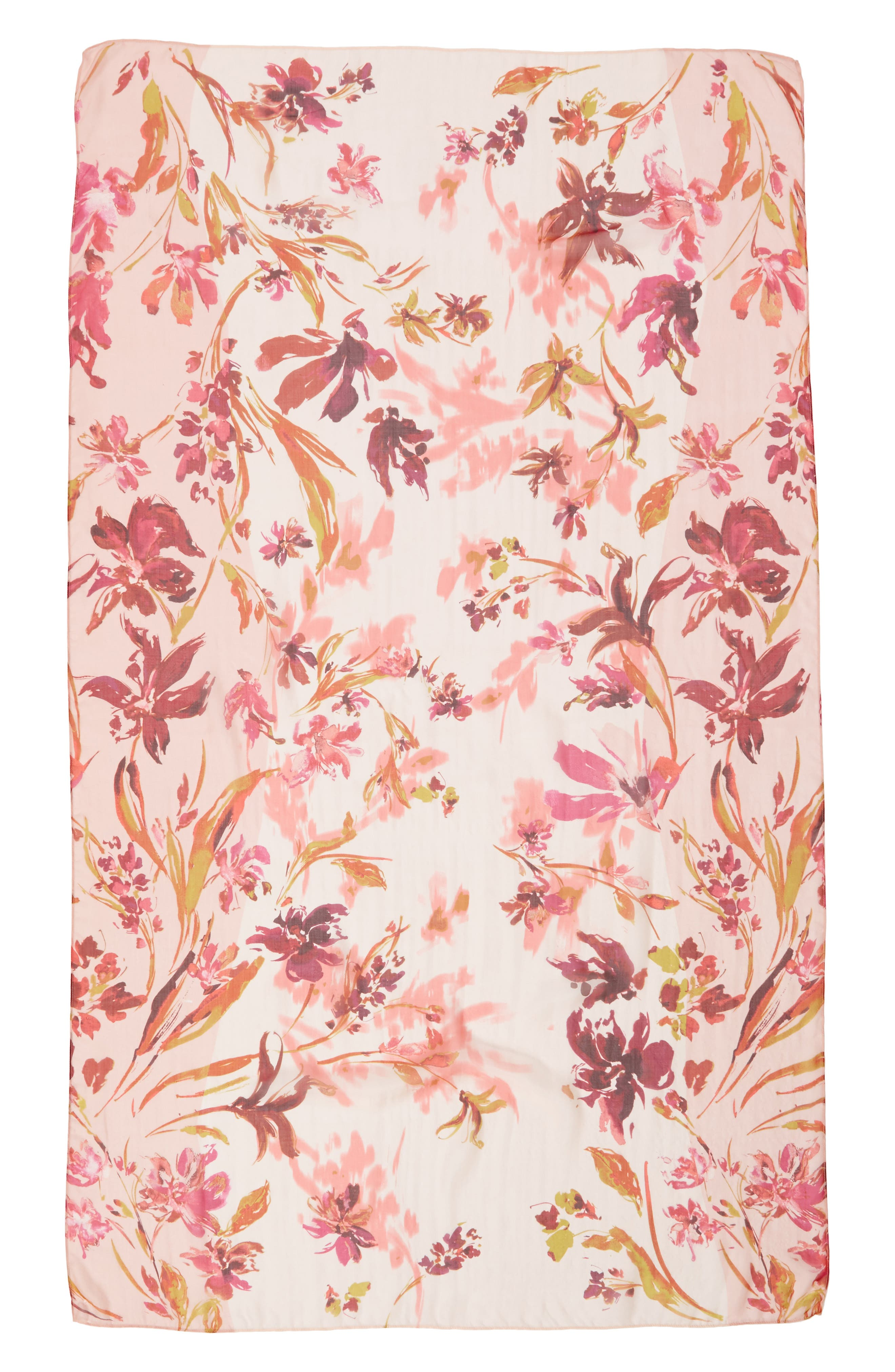 Silk Chiffon Oblong Scarf,                             Alternate thumbnail 4, color,                             Pink Mapped Floral Mix
