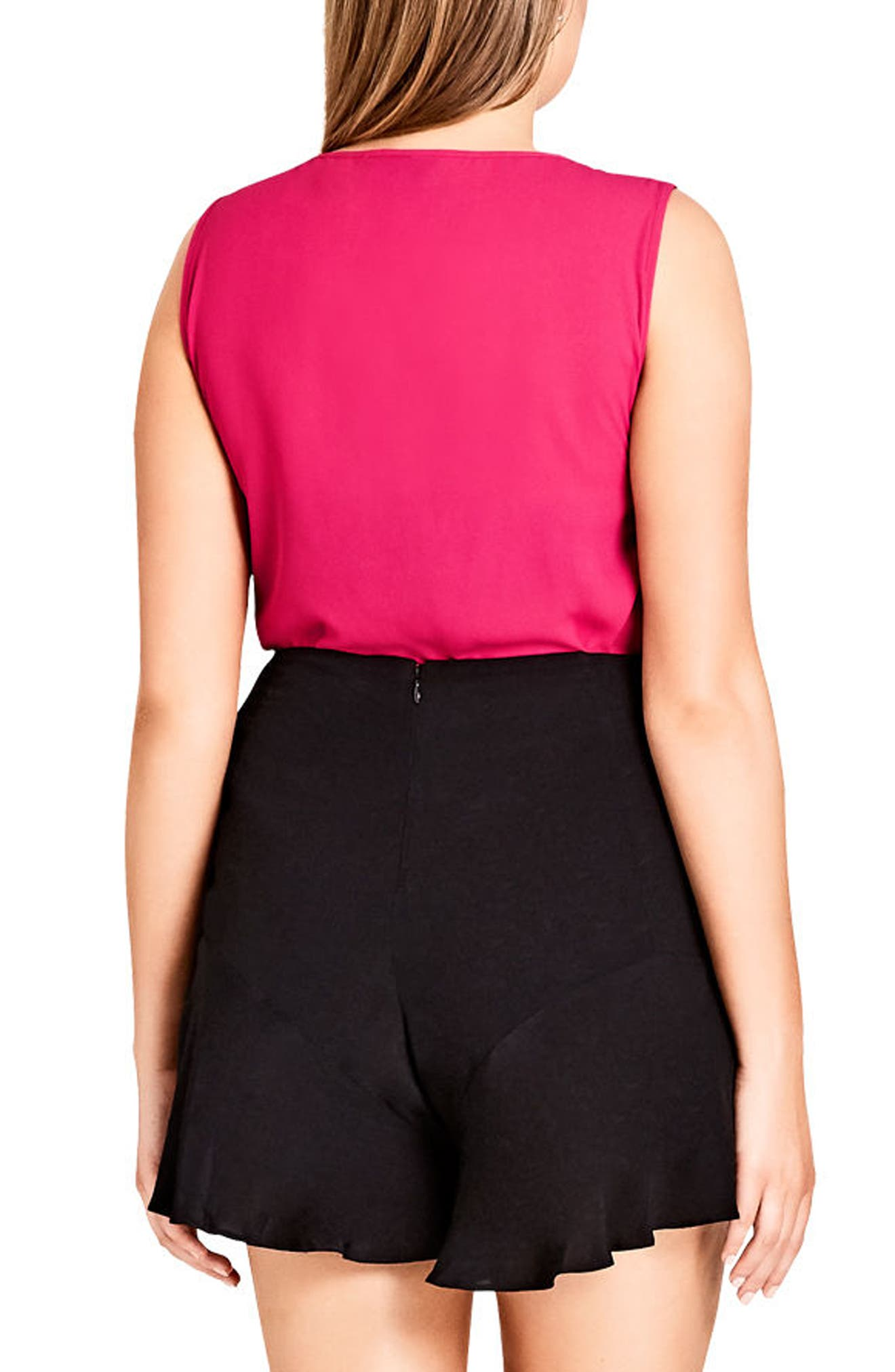 Zip Front Top,                             Alternate thumbnail 2, color,                             Fuchsia