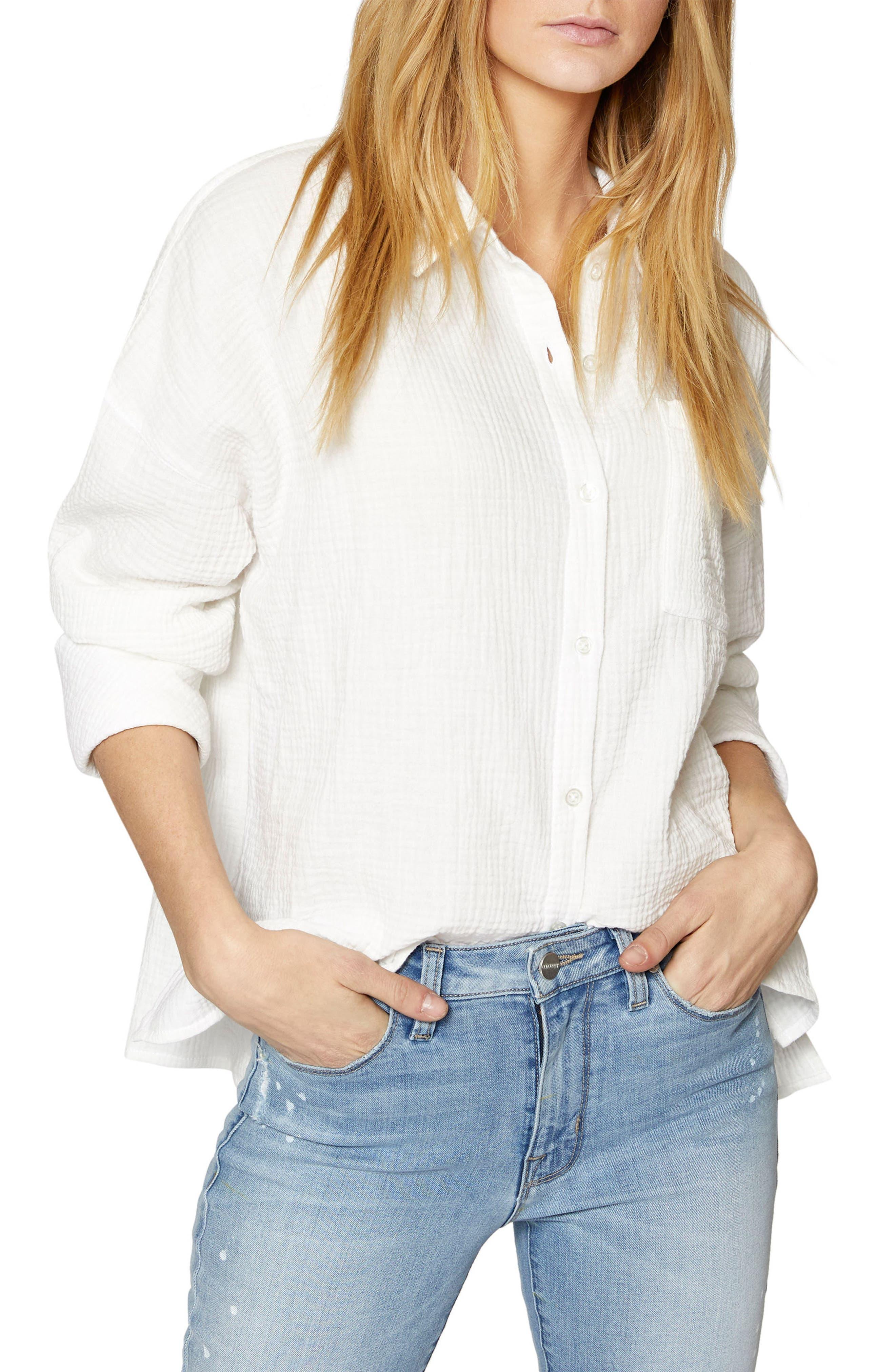 Mod Boyfriend Shirt,                         Main,                         color, White