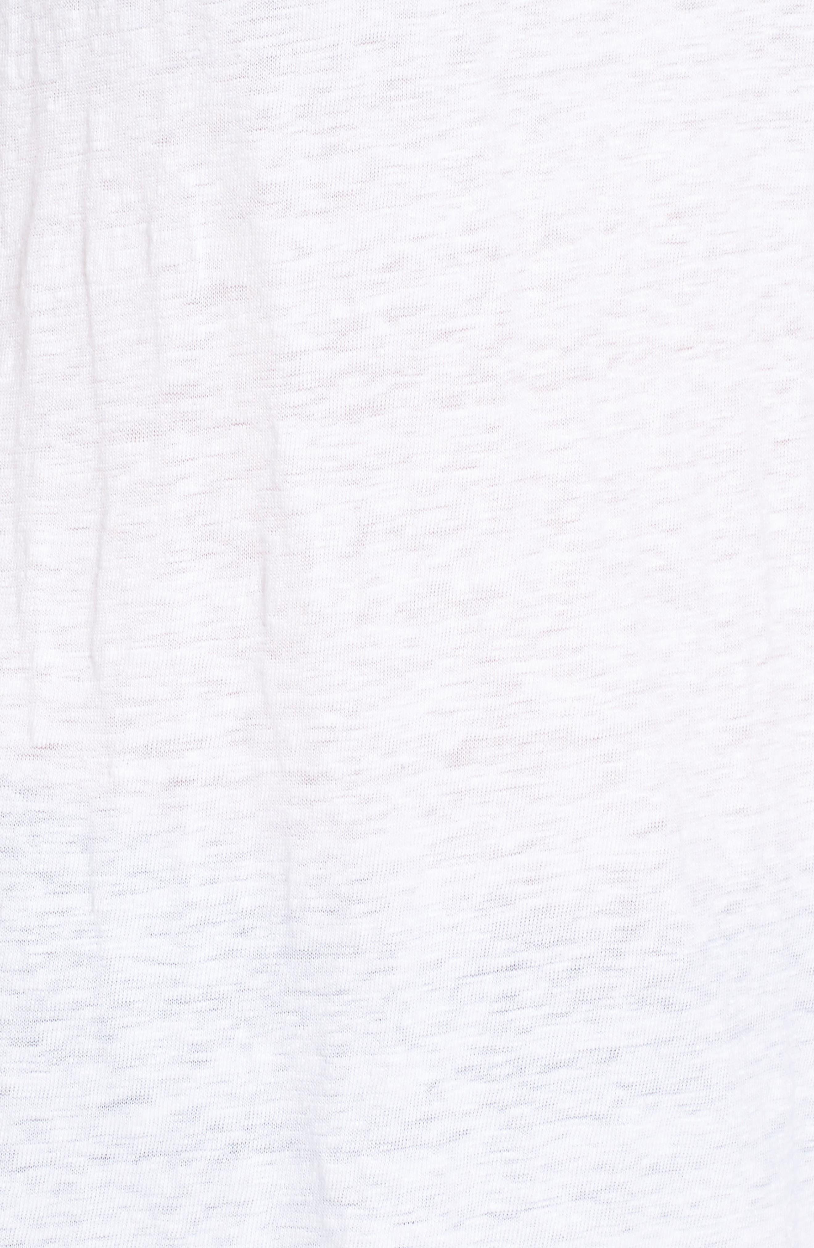 V-Neck Organic Linen Tee,                             Alternate thumbnail 5, color,                             White
