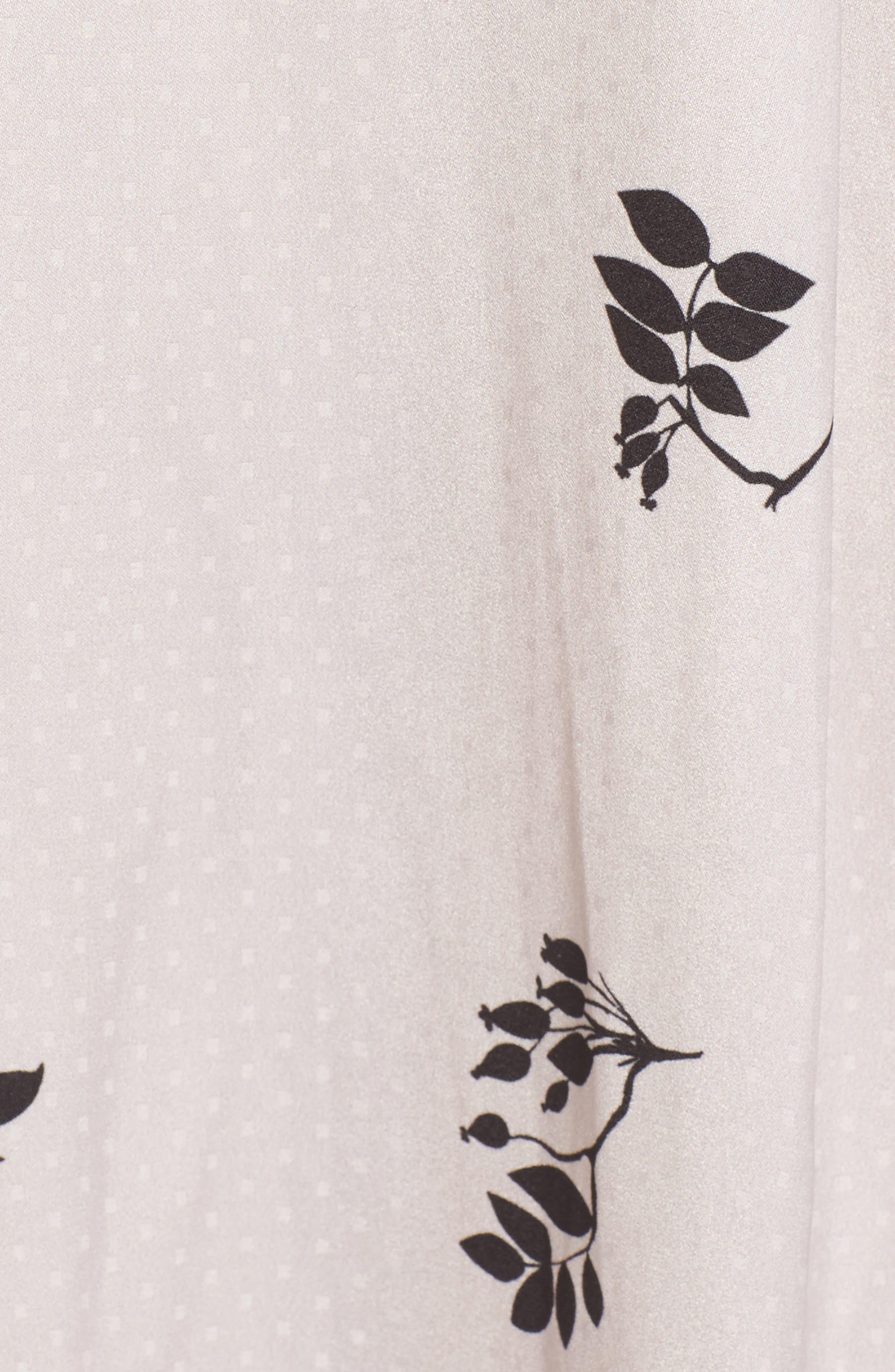 Textured Fit & Flare Midi Dress,                             Alternate thumbnail 6, color,                             Pink Hush Falling Leaves