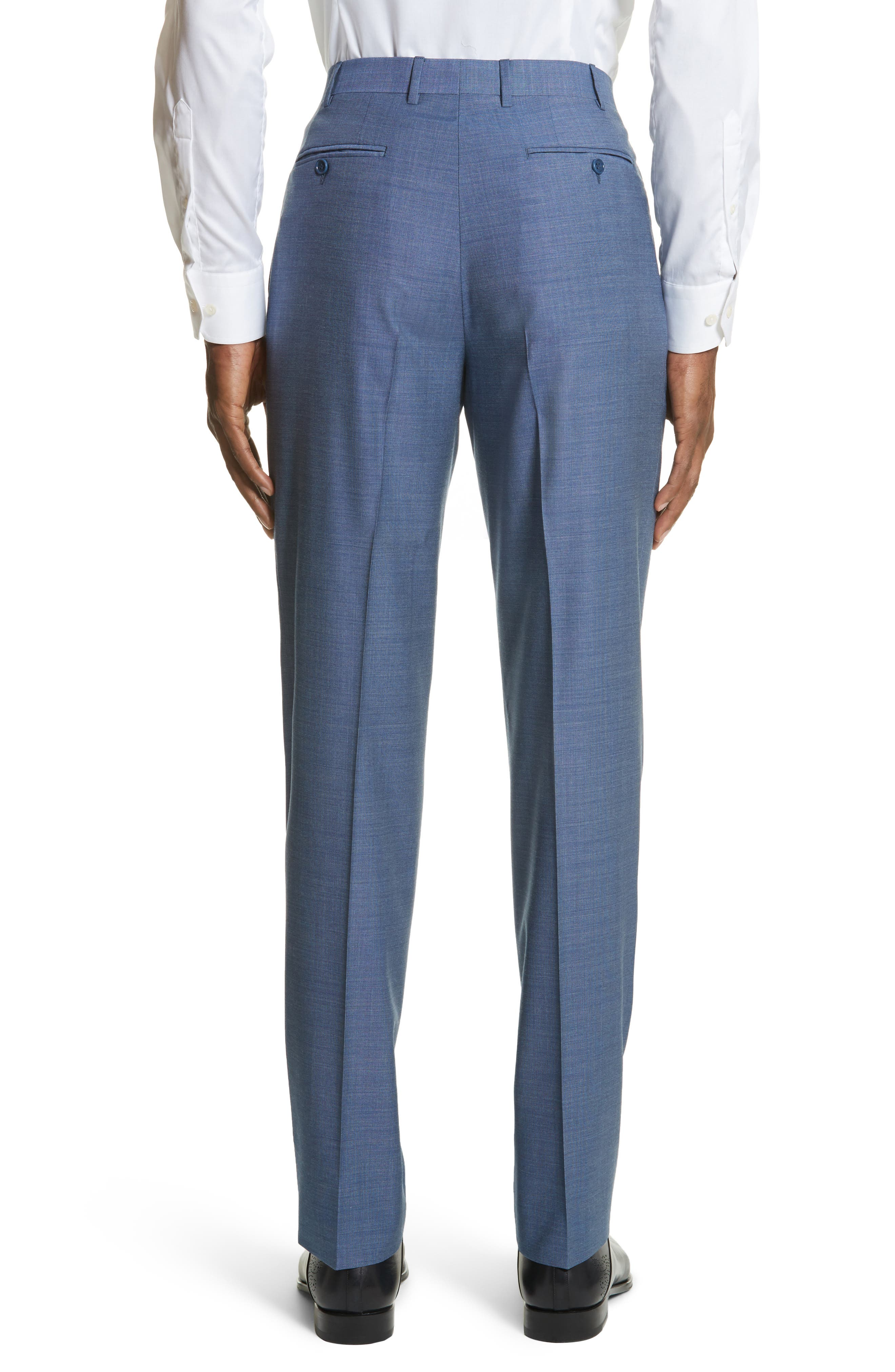 Alternate Image 2  - Canali Flat Front Solid Wool Trousers
