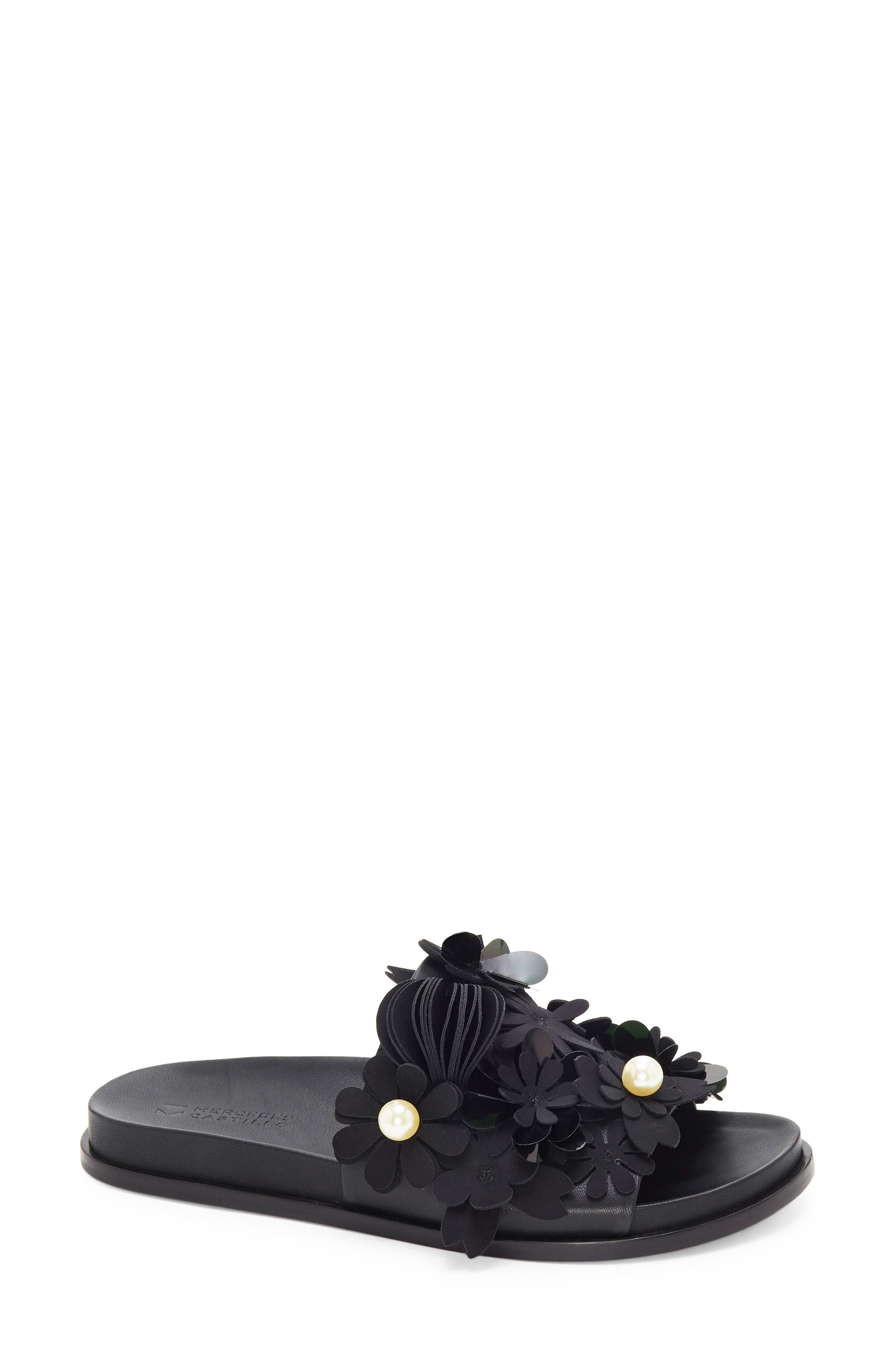 Alyse Flowered Slide Sandal,                             Main thumbnail 1, color,                             Black