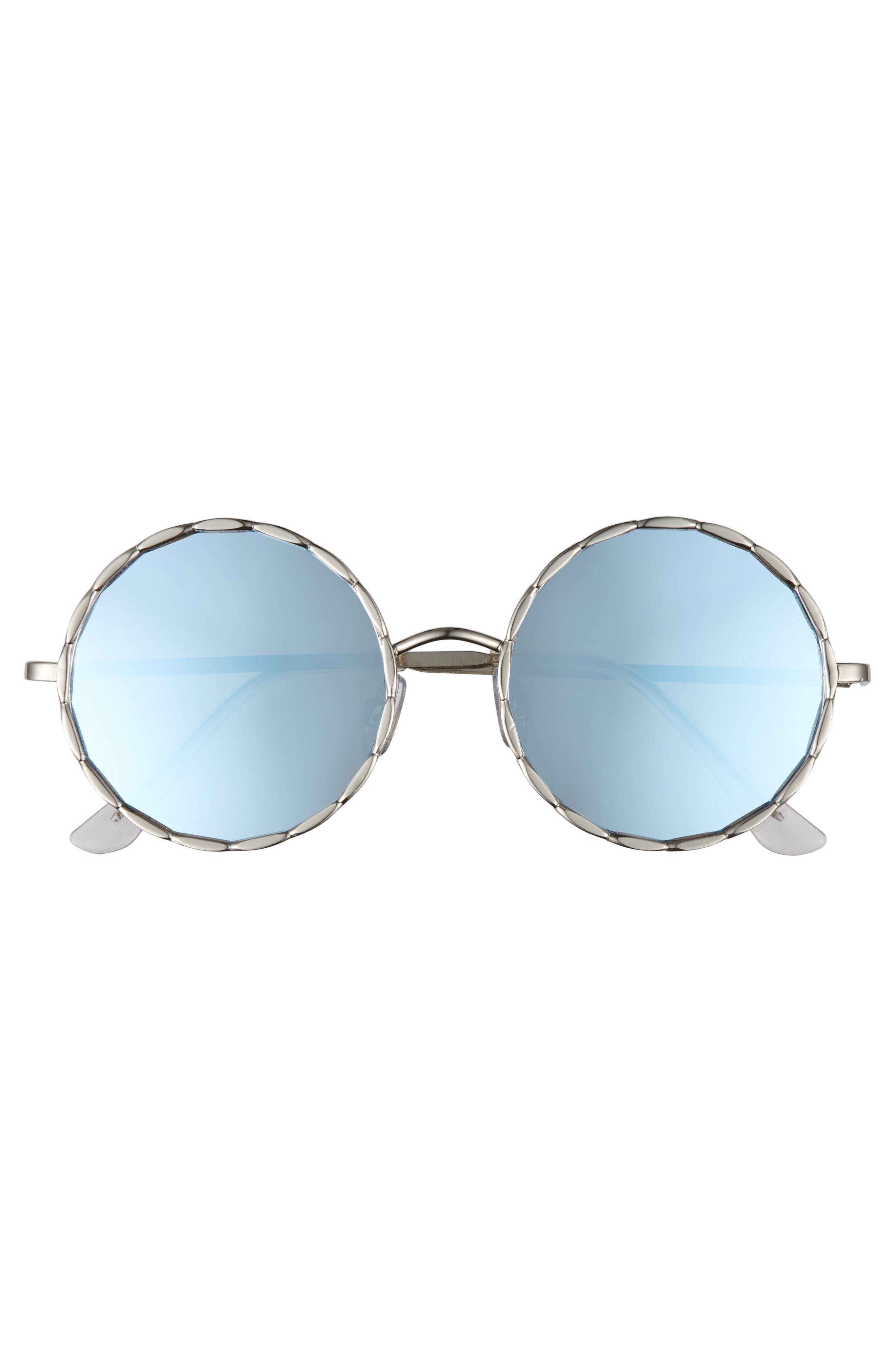 58mm Textured Round Sunglasses,                             Alternate thumbnail 3, color,                             Silver/ Blue