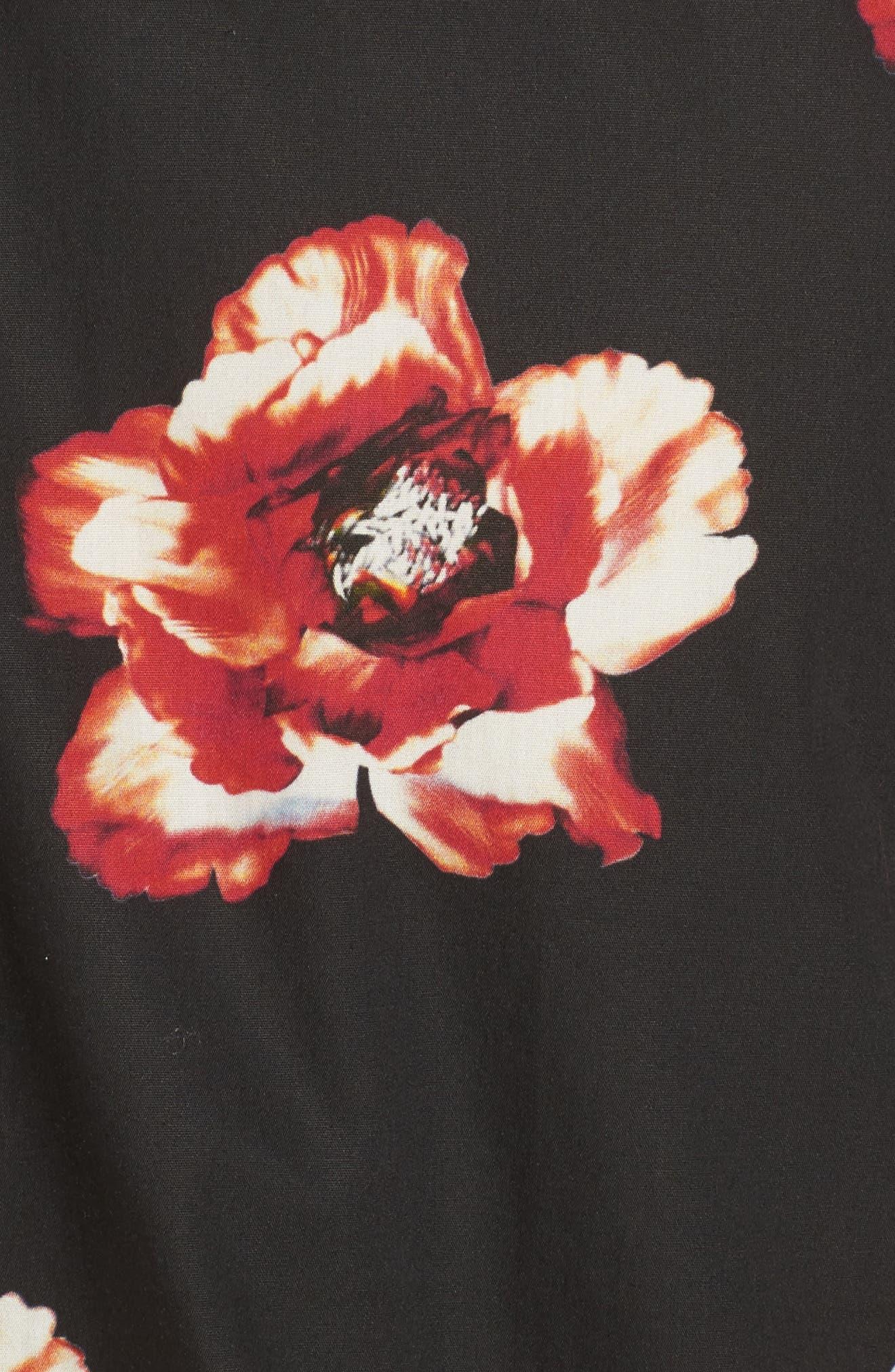 Lilky Trim Fit Floral Sport Shirt,                             Alternate thumbnail 5, color,                             Navy