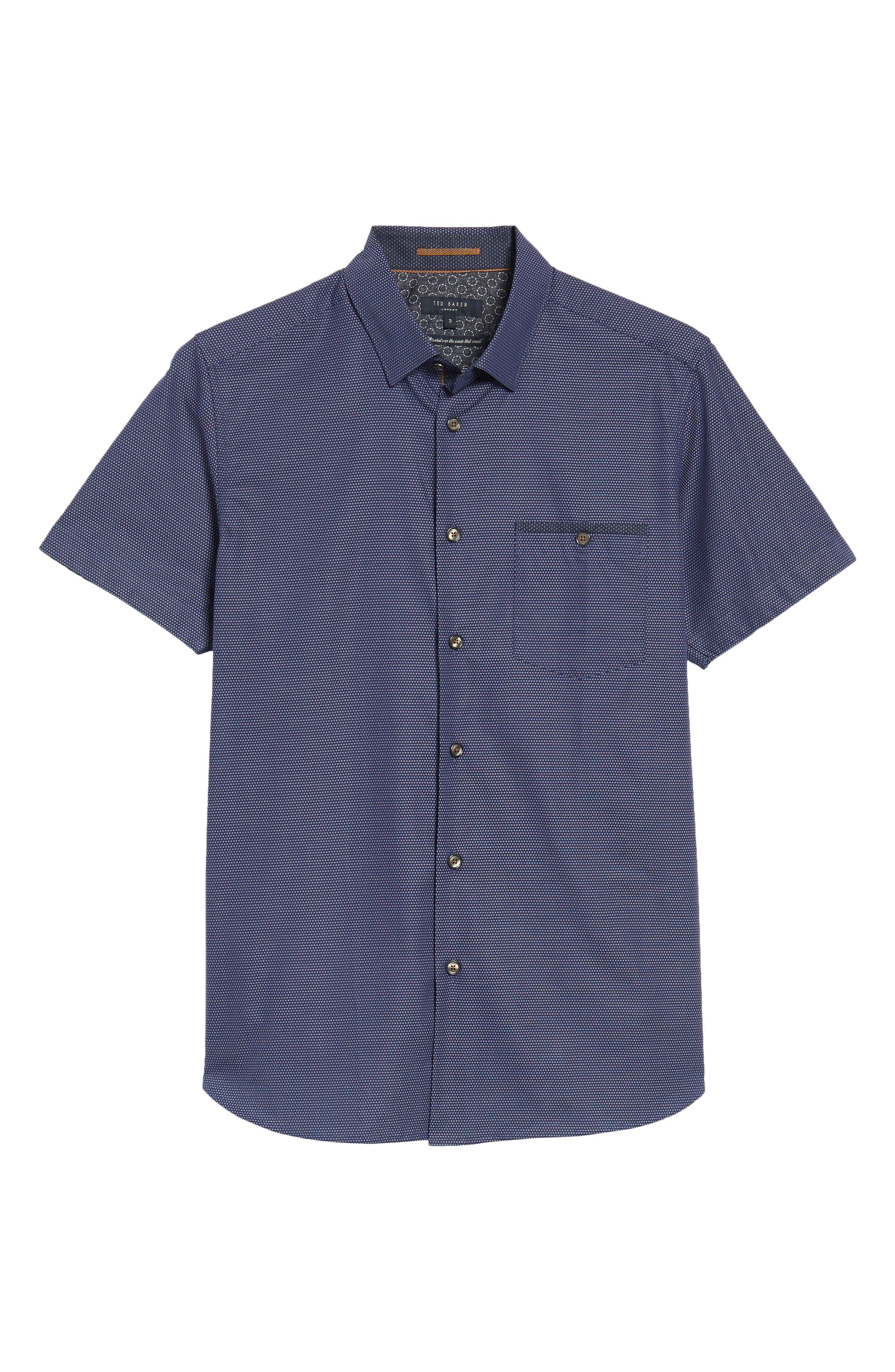 Dotdots Trim Fit Dot Short Sleeve Sport Shirt,                             Alternate thumbnail 6, color,                             Navy