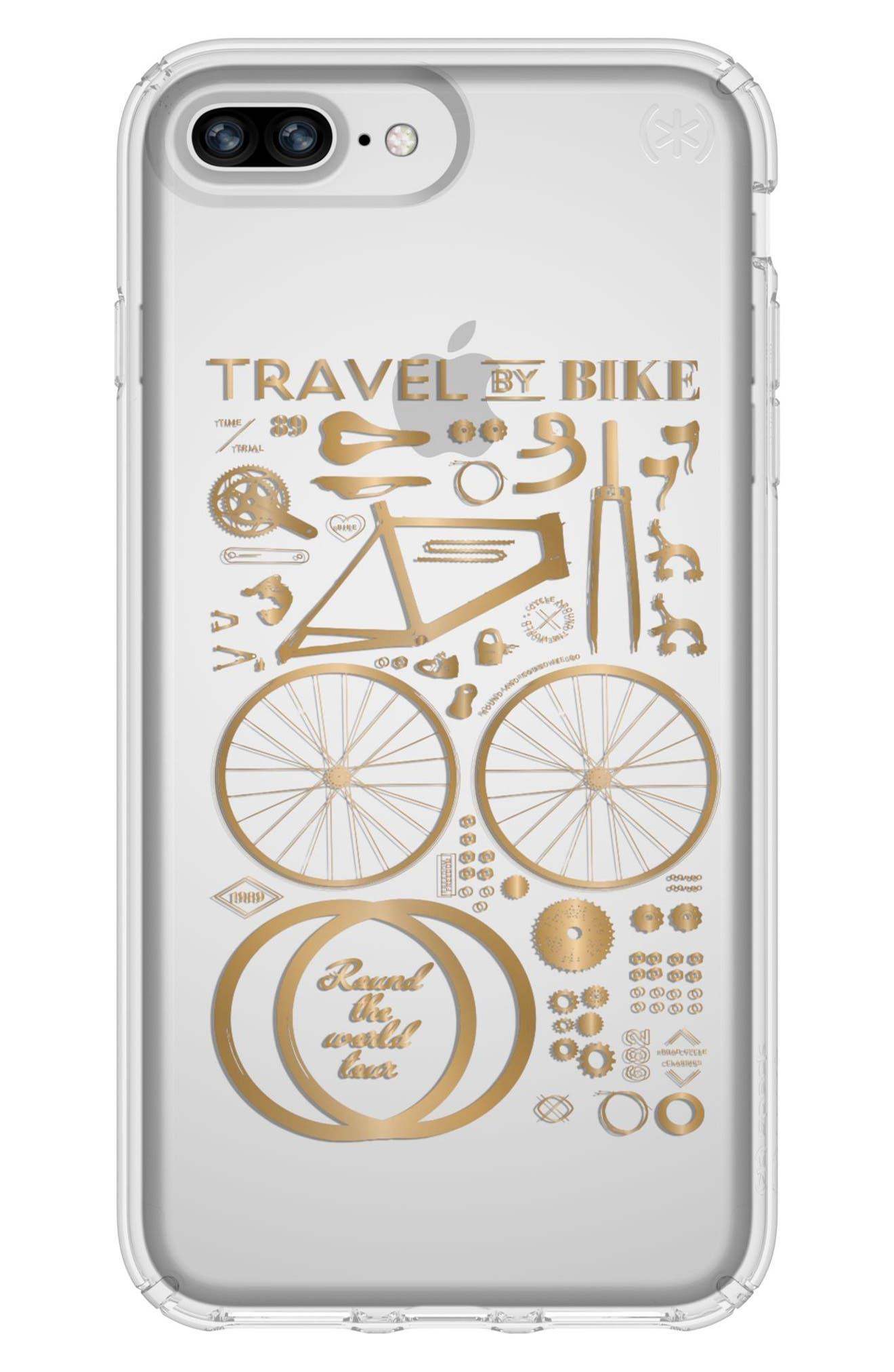 iPhone 6 Plus/6S Plus/7 Plus/8 Plus Case,                         Main,                         color, Citybike Metallic Gold/ Clear