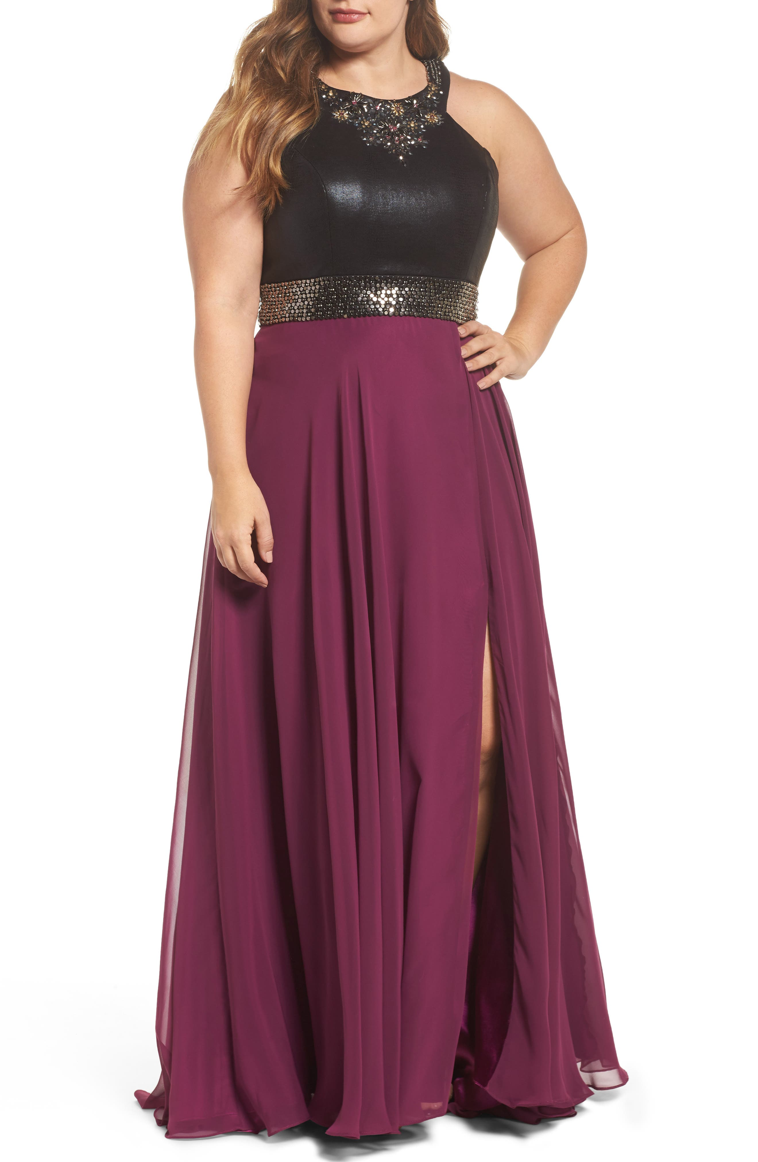 Beaded High Neck Gown,                             Main thumbnail 1, color,                             Purple/ Black