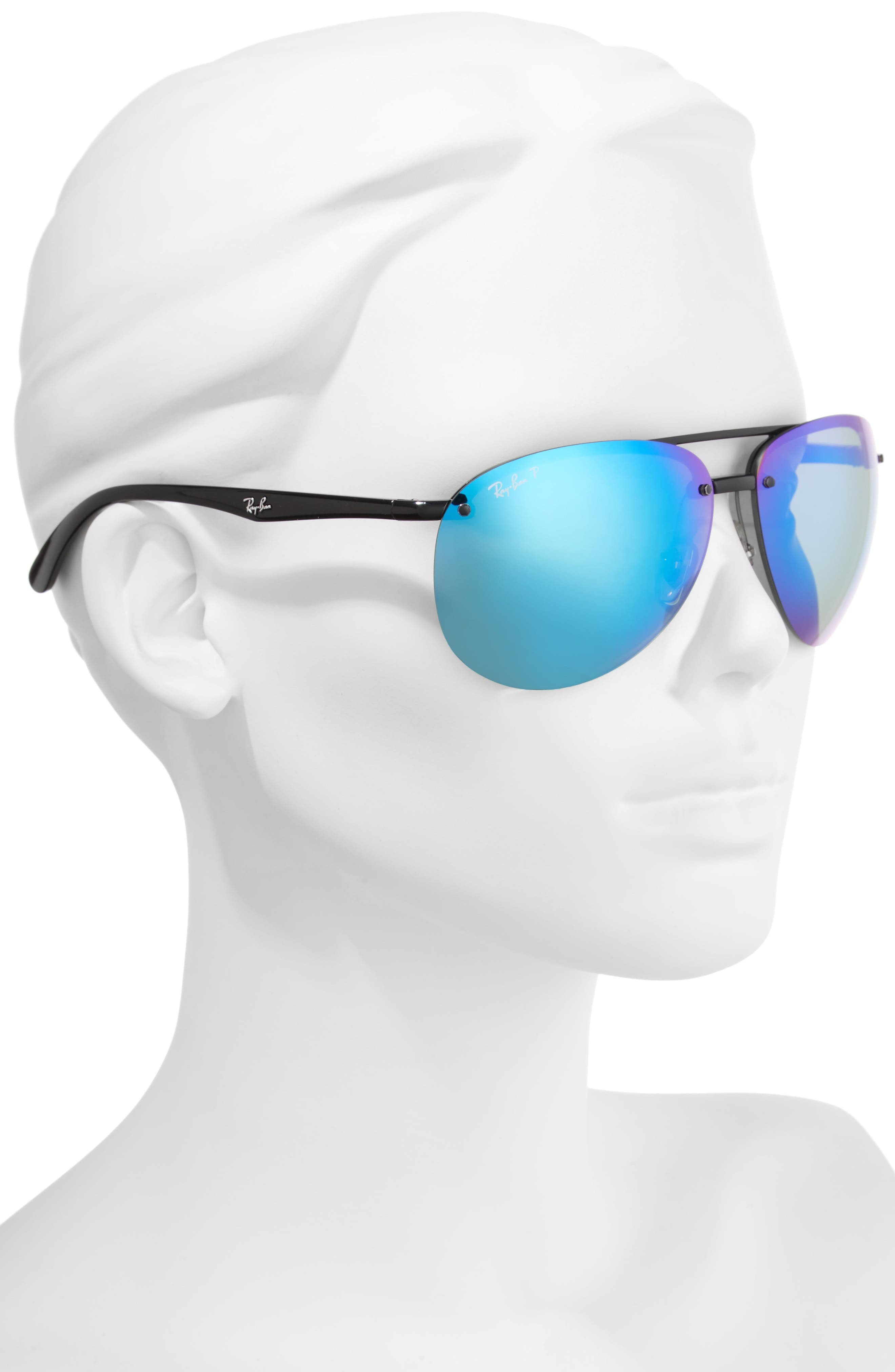 64mm Oversized Polarized Mirrored Rimless Aviator Sunglasses,                             Alternate thumbnail 3, color,                             Black