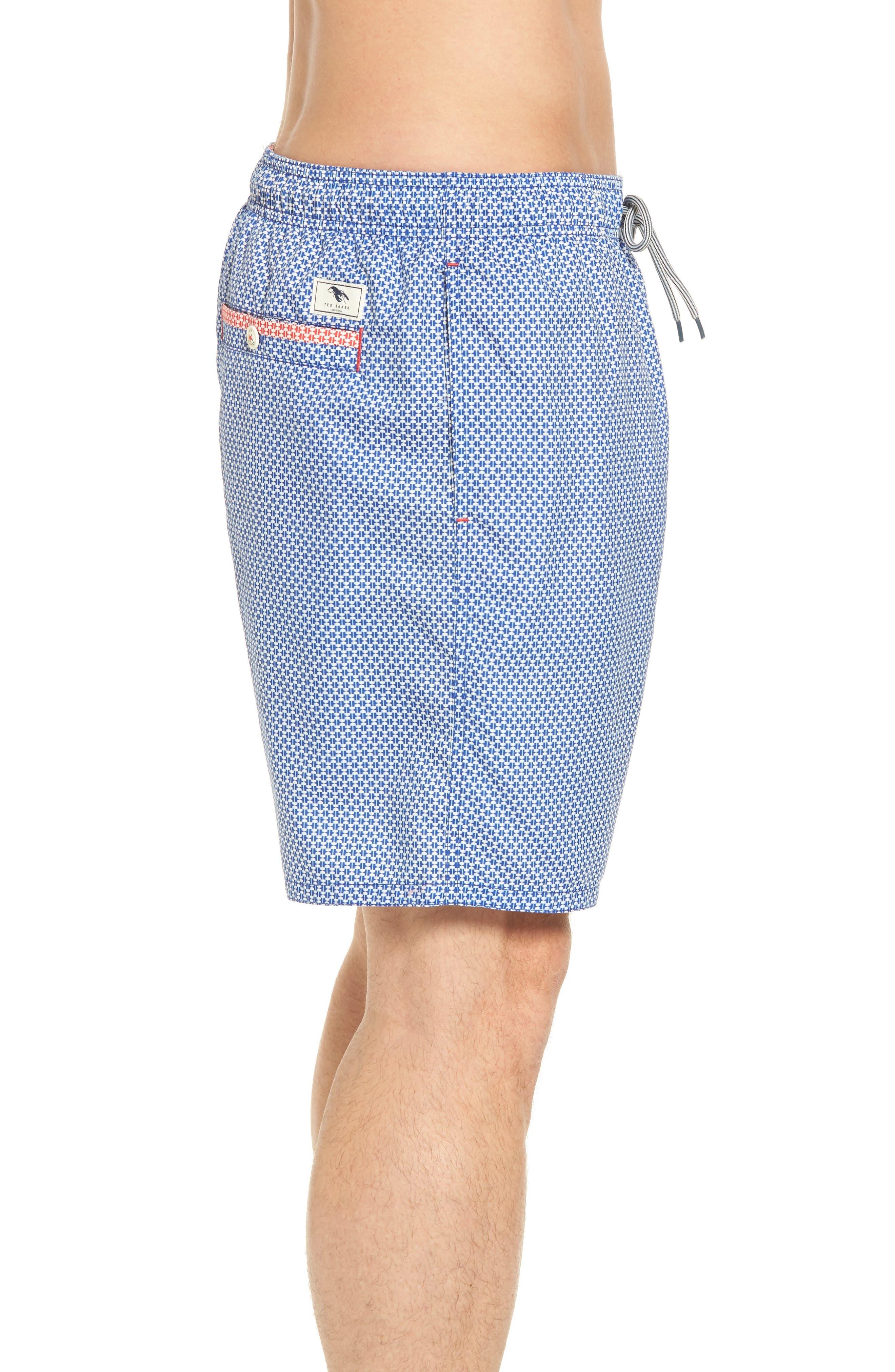 Larkman Geo Print Swim Shorts,                             Alternate thumbnail 3, color,                             Light Blue